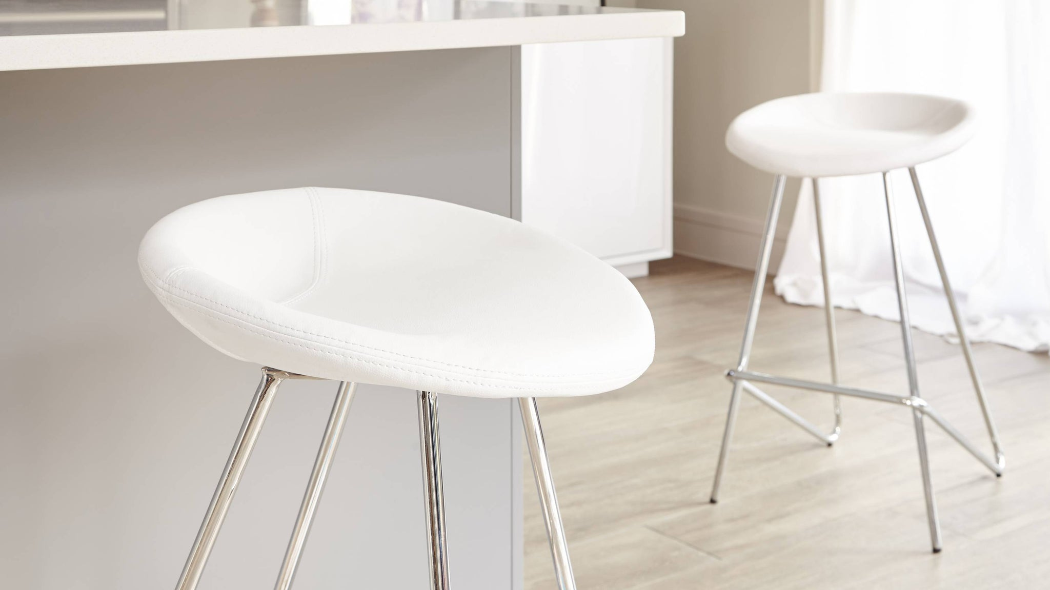 White Fixed Height Bar Stools
