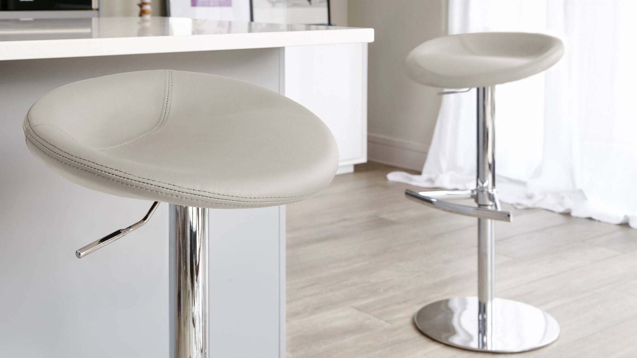 Light Grey Gas Lift Modern Breakfast Stools