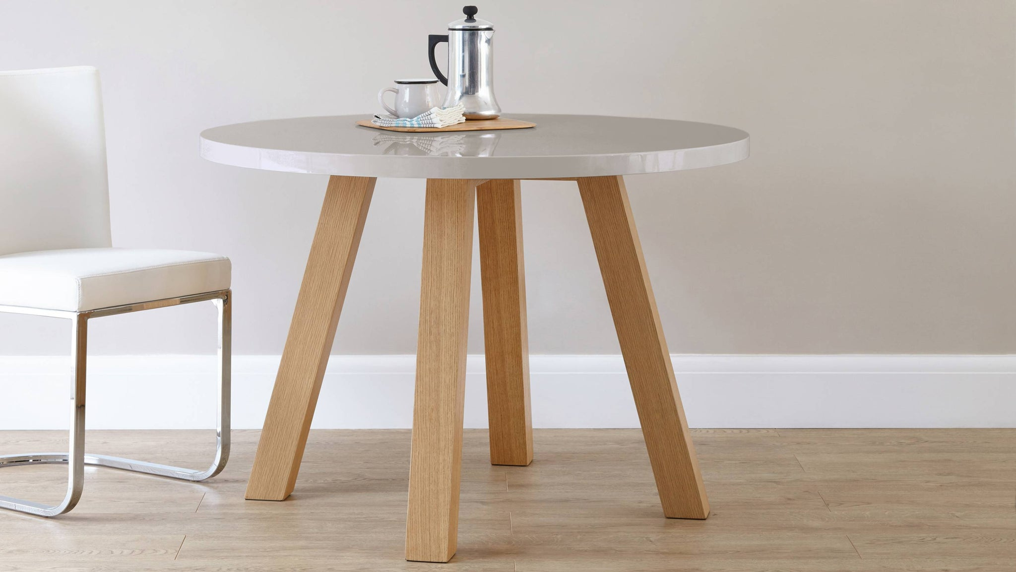 grey gloss and oak modern round dining table Exclusively Danetti with Julia Kendell Range