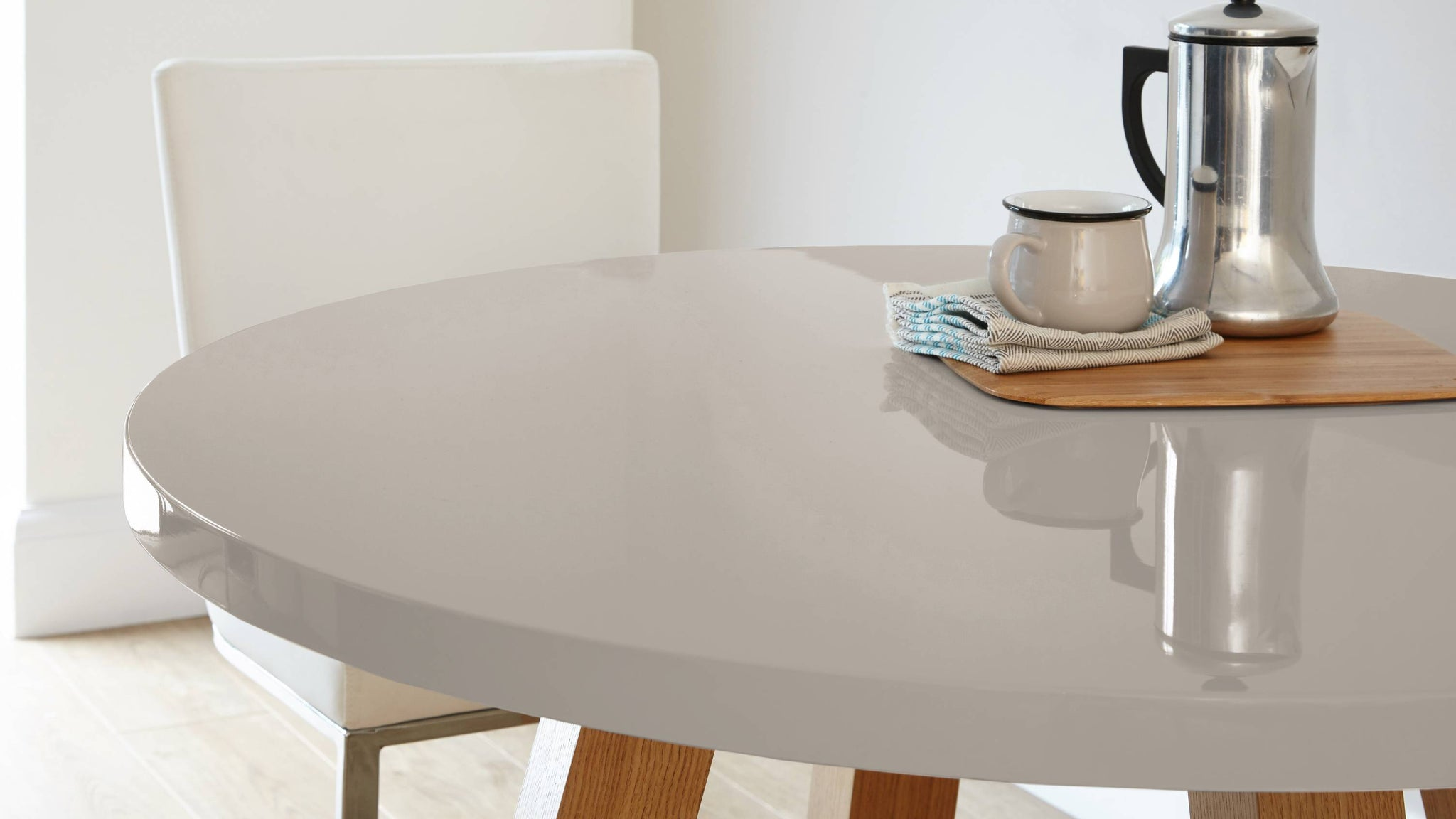 grey gloss four seater round table with oak veneer legs Exclusively Danetti with Julia Kendell Range