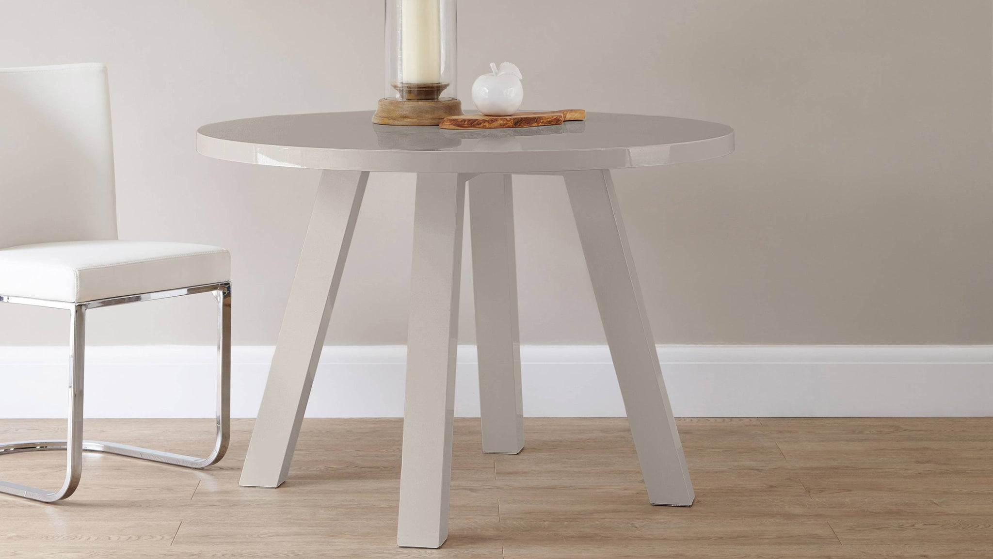 Grey gloss round four seater dining table Exclusively Danetti with Julia Kendell Range