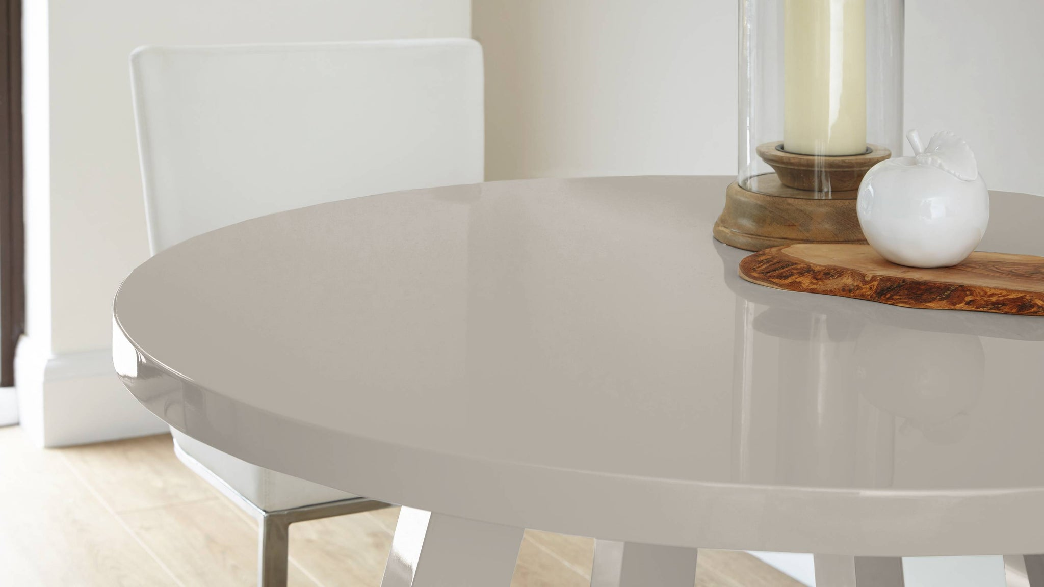 Round grey gloss four seater dining table Exclusively Danetti with Julia Kendell Range