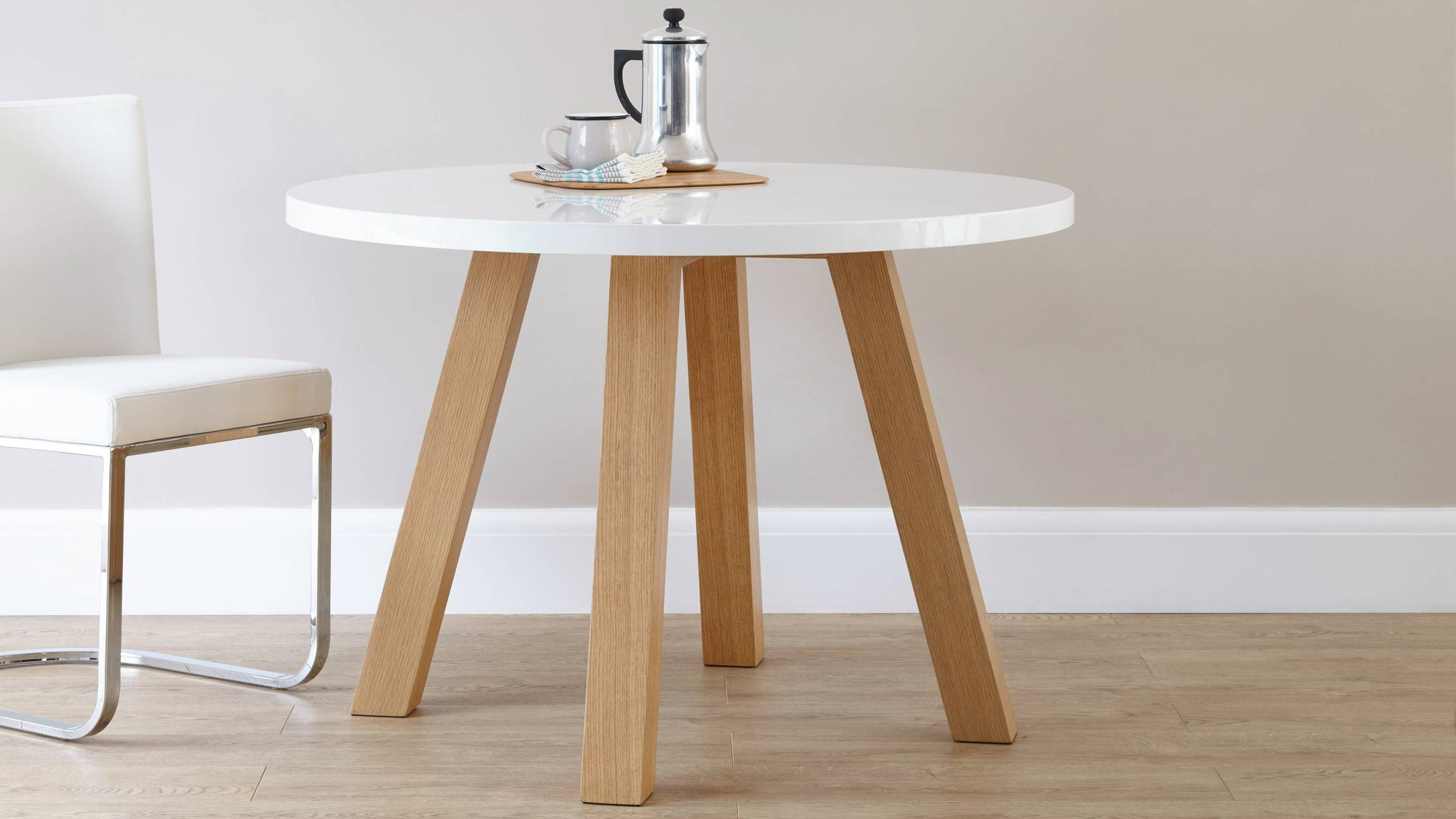Modern 4 Seater White Gloss and Oak Dining Table Exclusively Danetti Julia Kendell Range