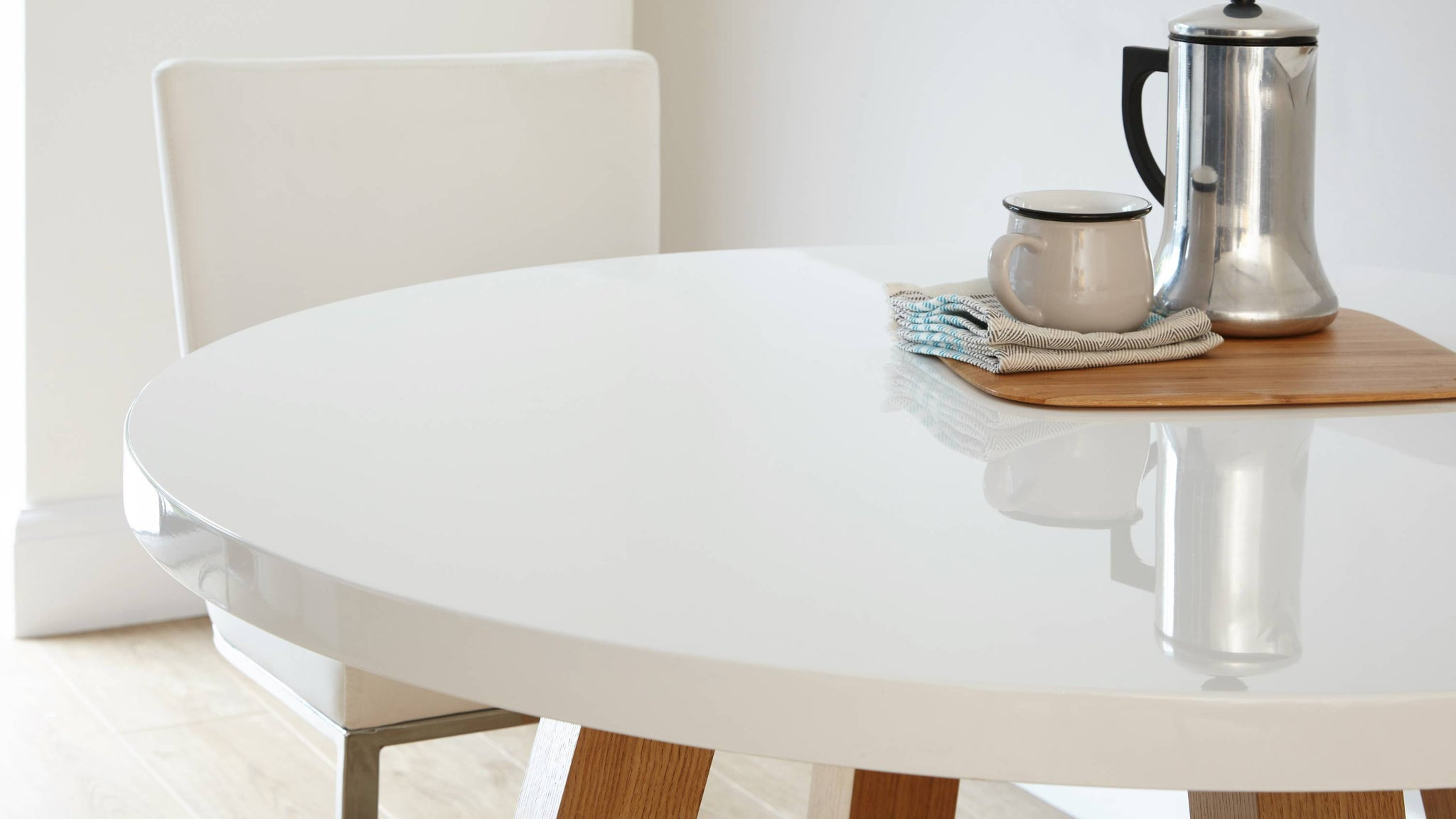 Stylish Round White Gloss Dining Table
