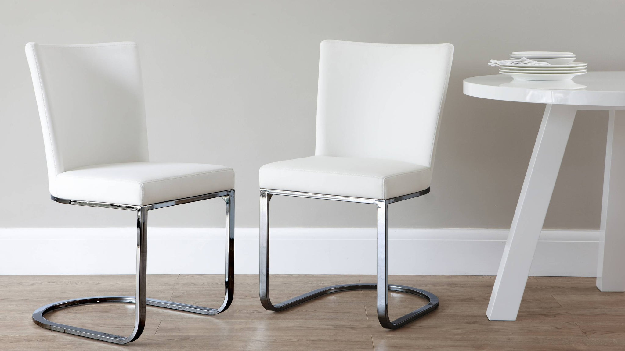 comfortable chrome white dining chairs