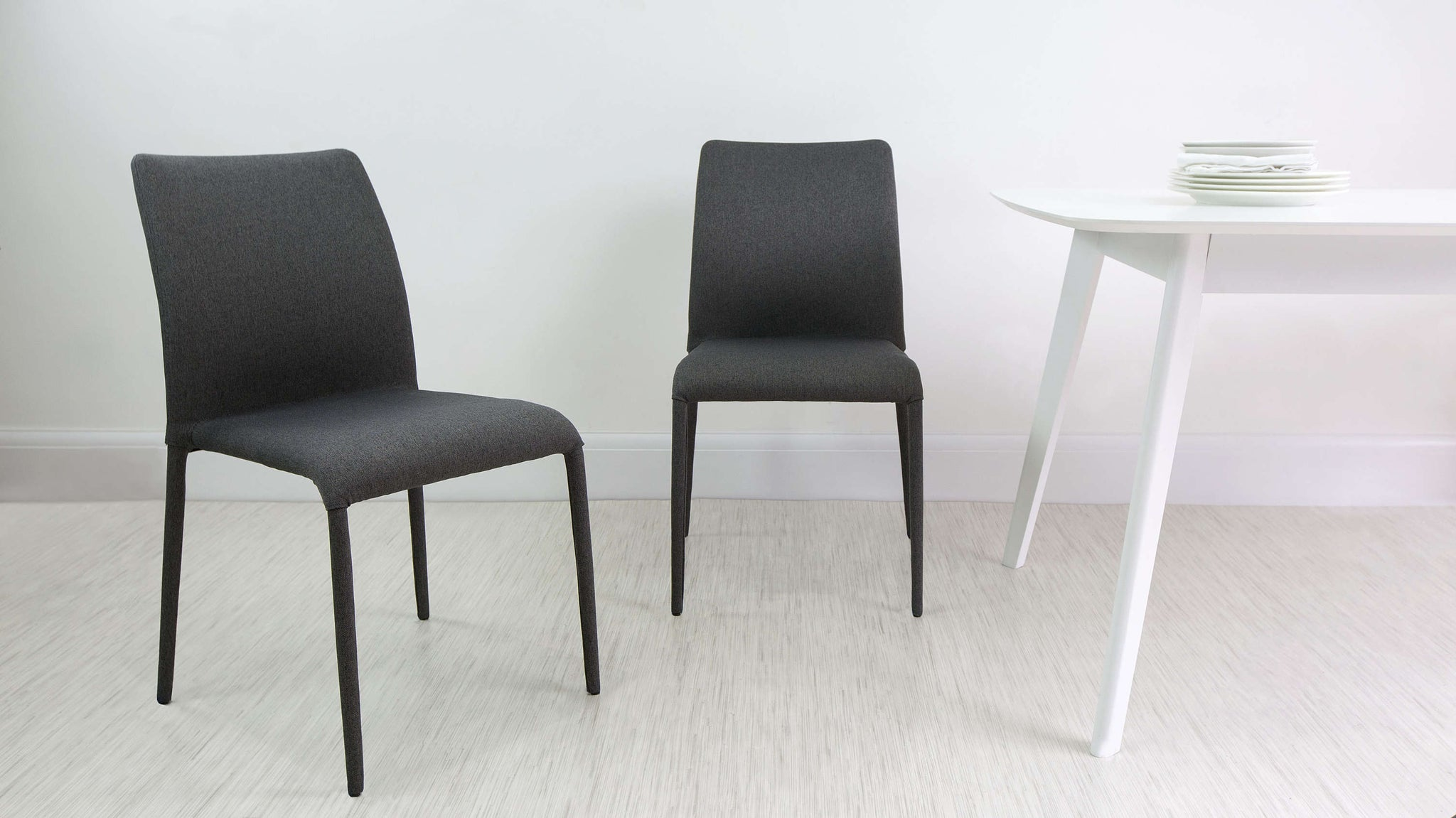 Black stackable fabric chair