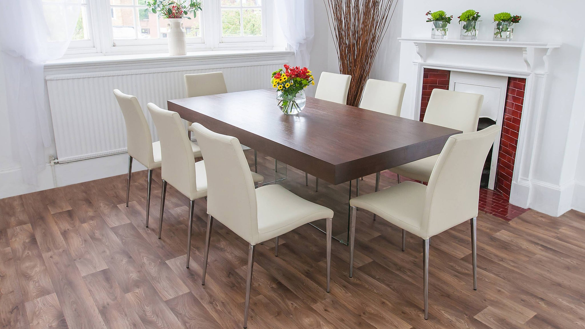 Floating Dining Table and Modern Dining Chairs