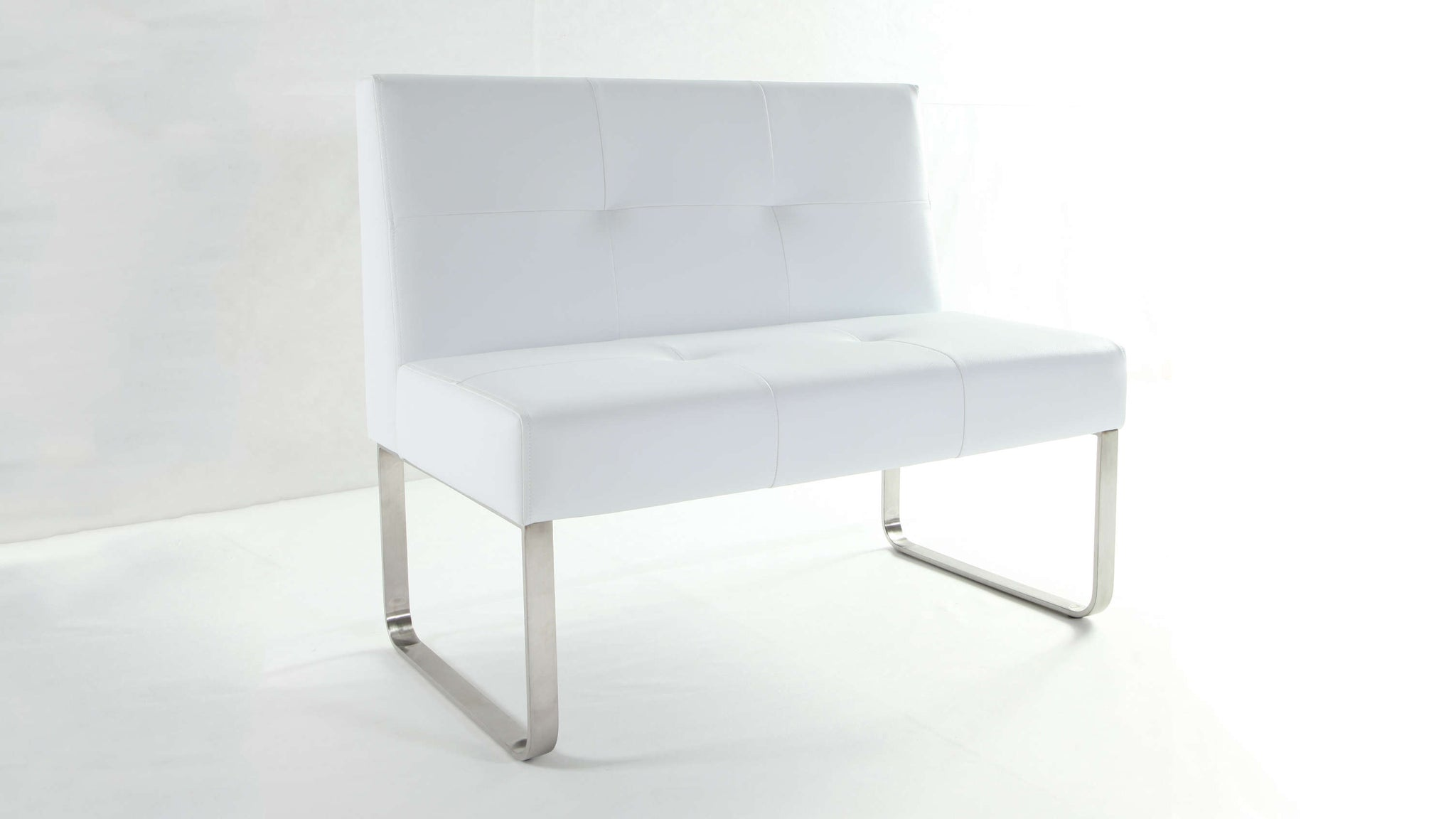 Contemporary White Dining Bench