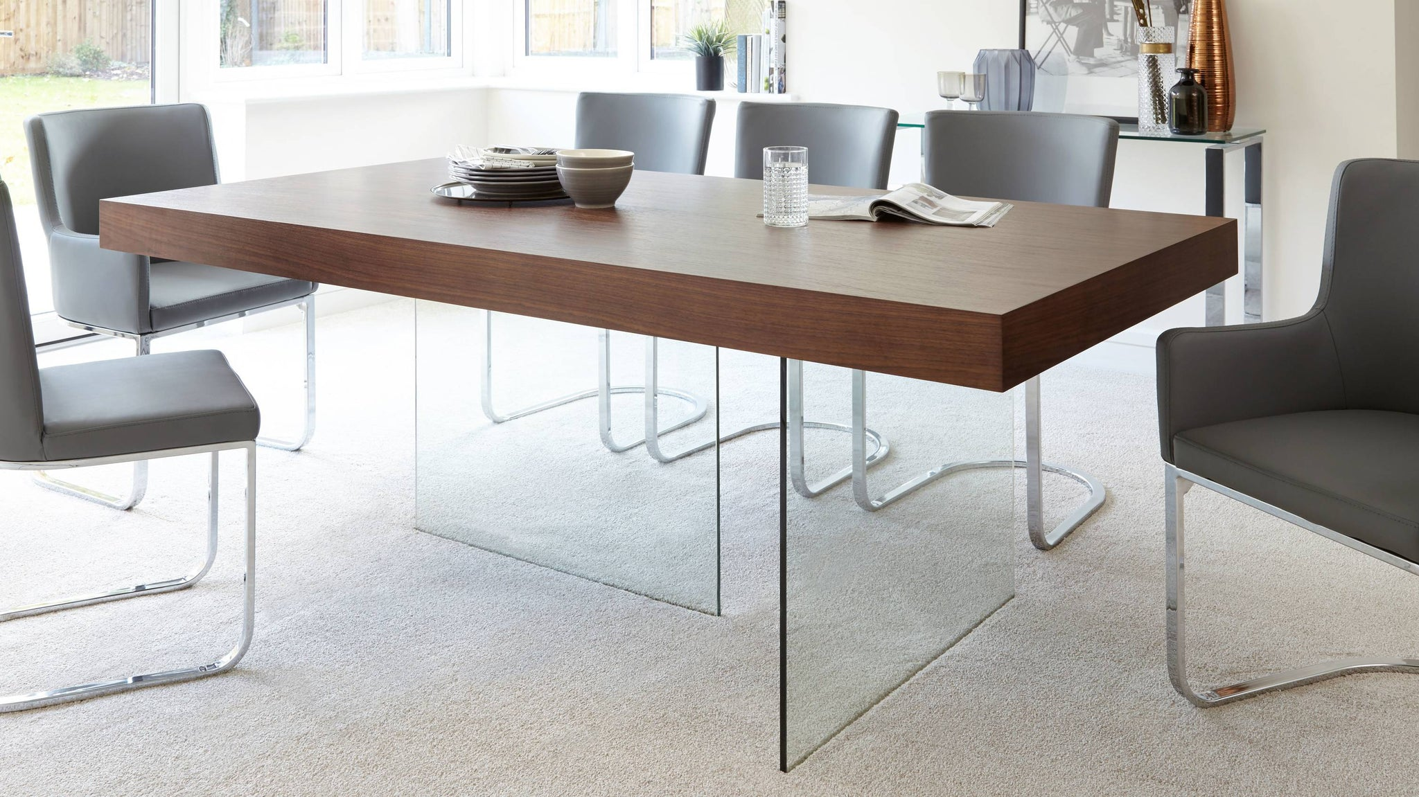 Dark wood and glass 8 seater dining table