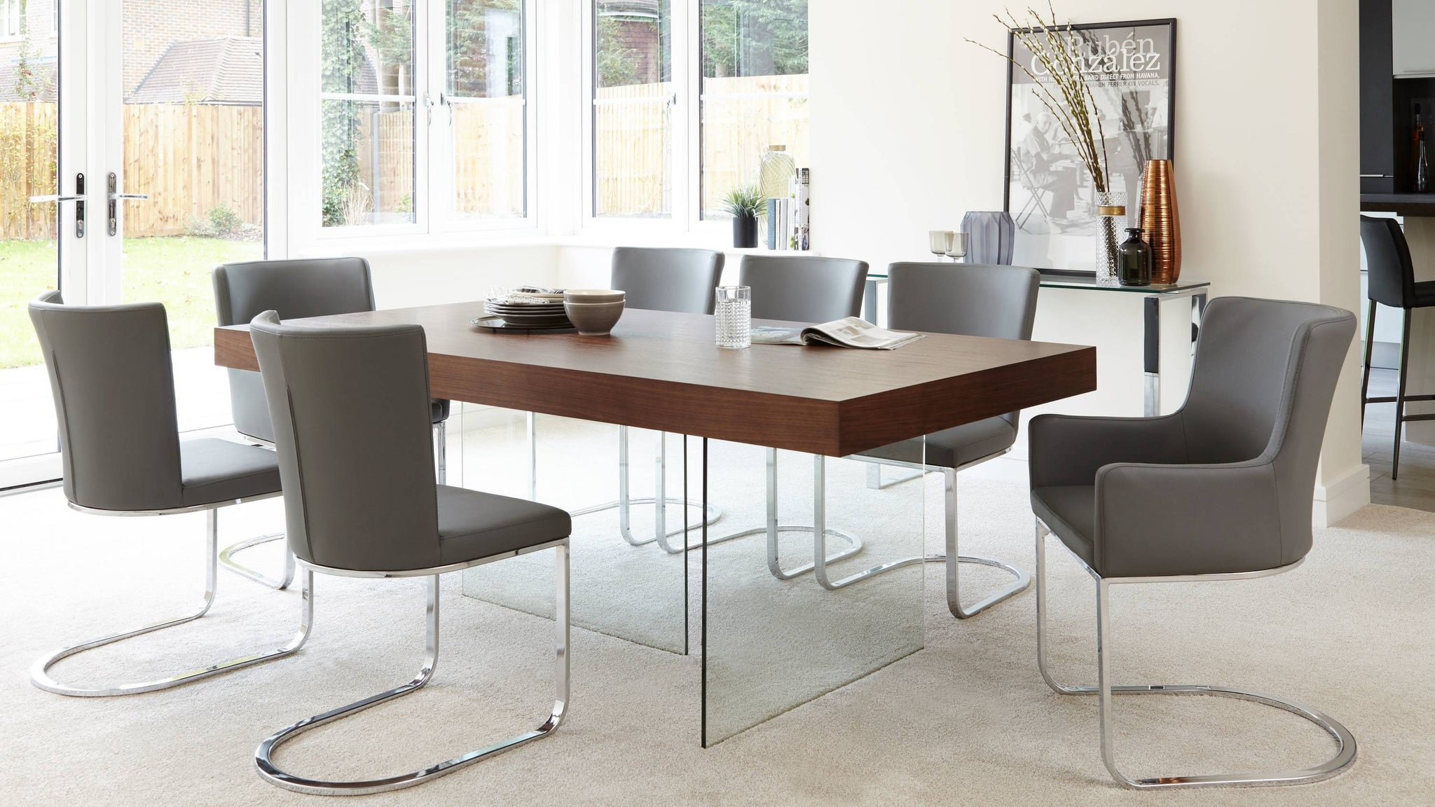 Tempered glass and wood veneer modern dining table