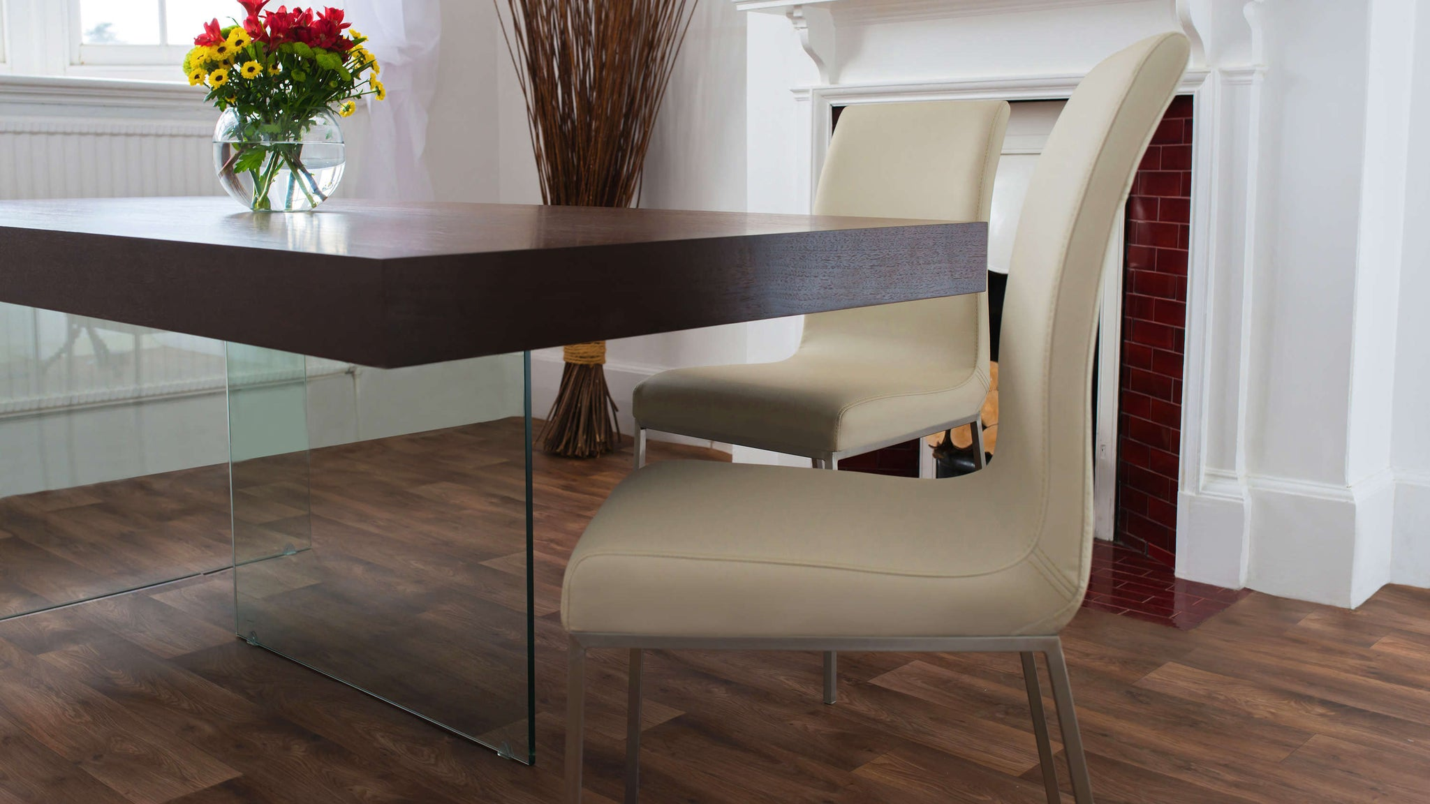 Modern Beige and Dark Wood Dining Set
