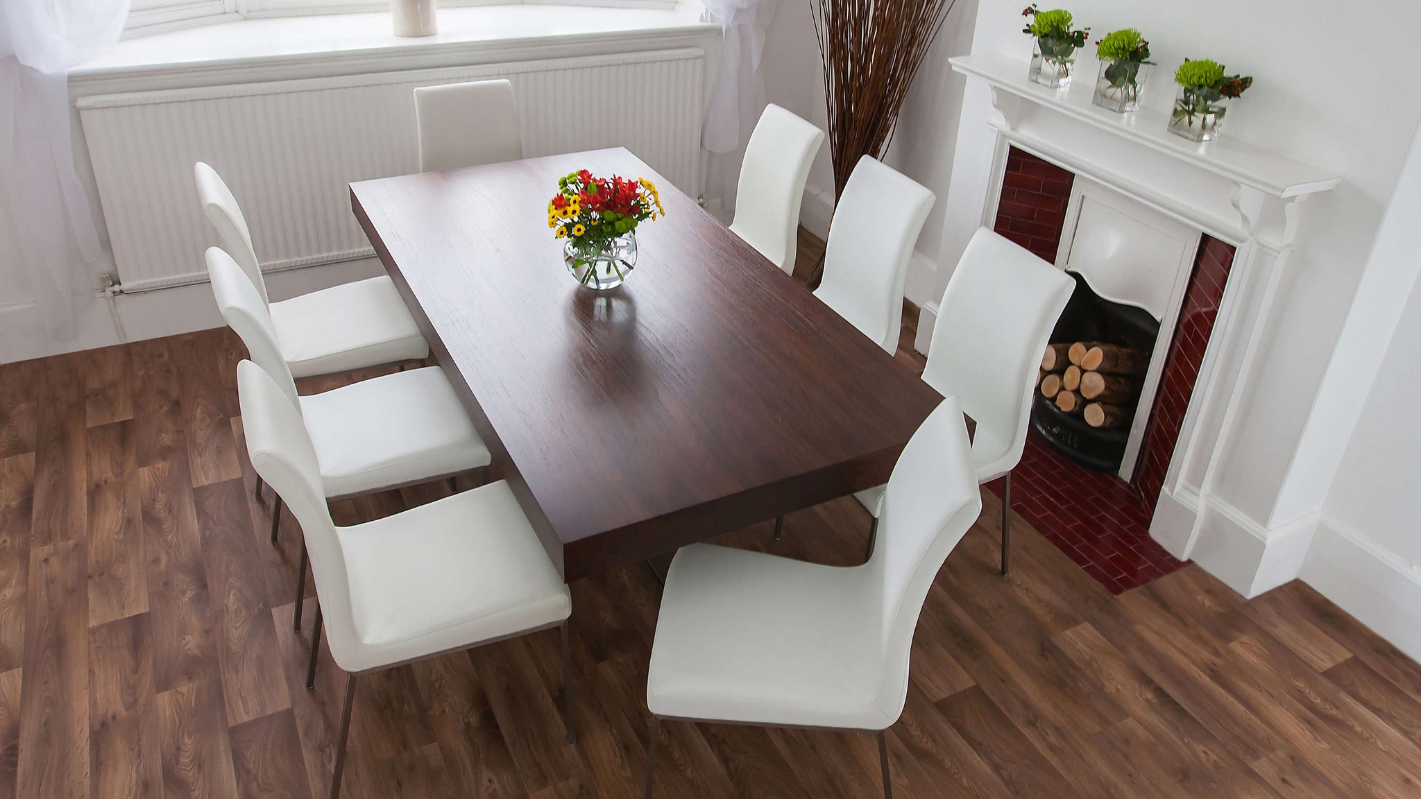 6-8 Seater Floating Dining Table and Faux Leather Dining Chairs