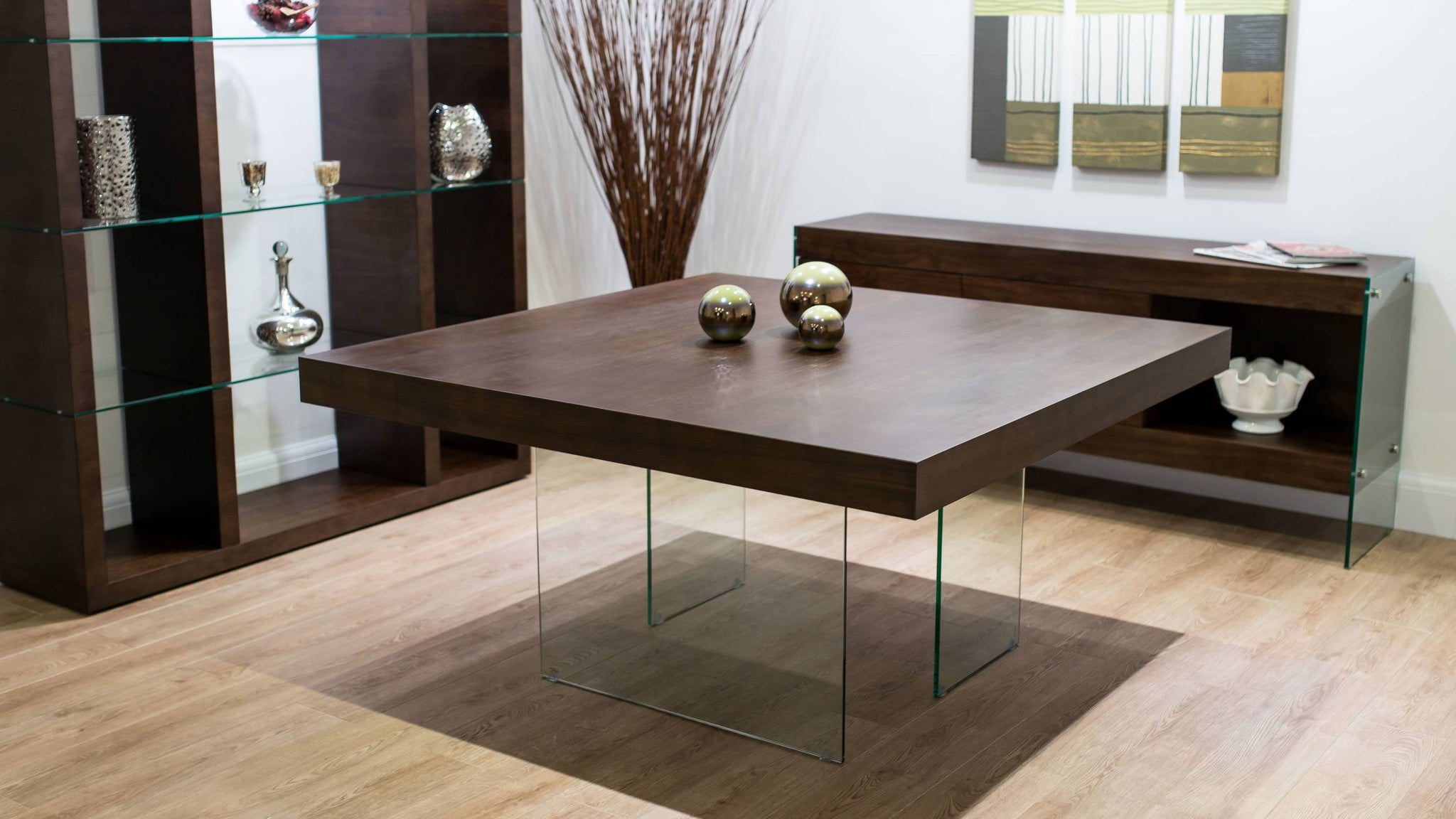 Large Dark Wood Square Dining Table with Glass Legs