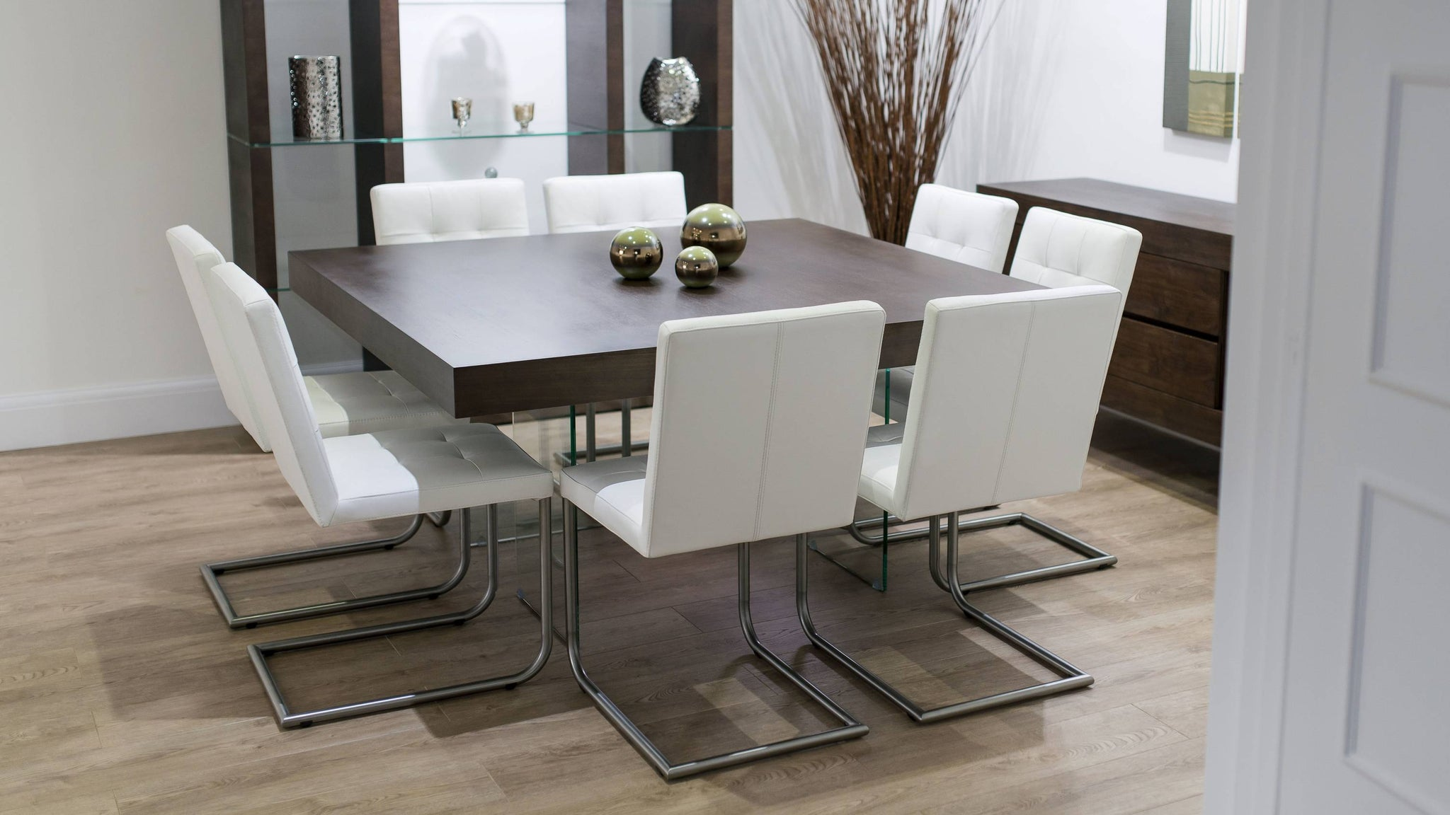 8 Seater Dark Wood Dining Table and Cantilever Dining Chairs