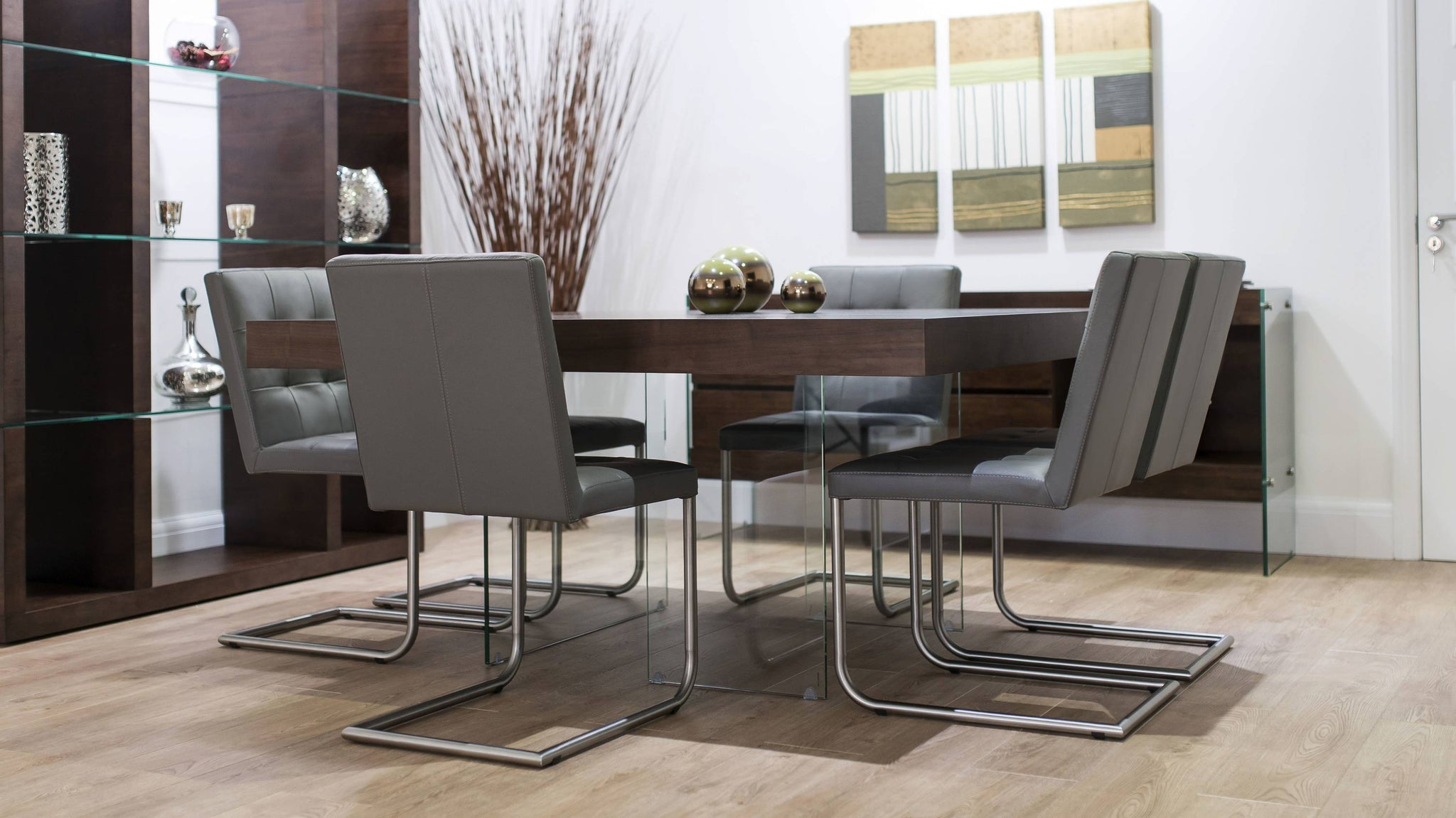 Stylish Dining Chairs and Dark Wood Square Dining Table