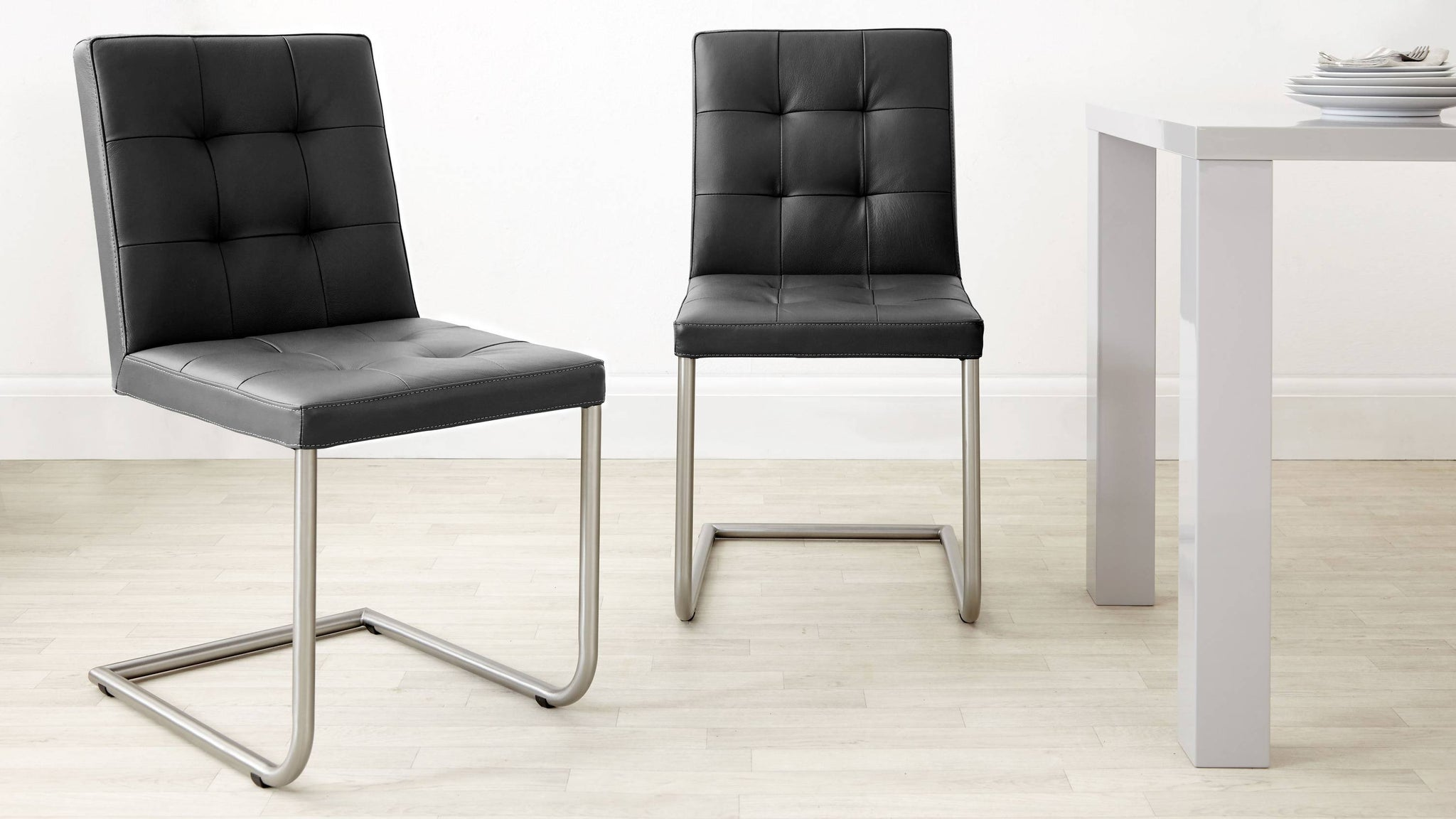 Black Real Leather Dining Chairs