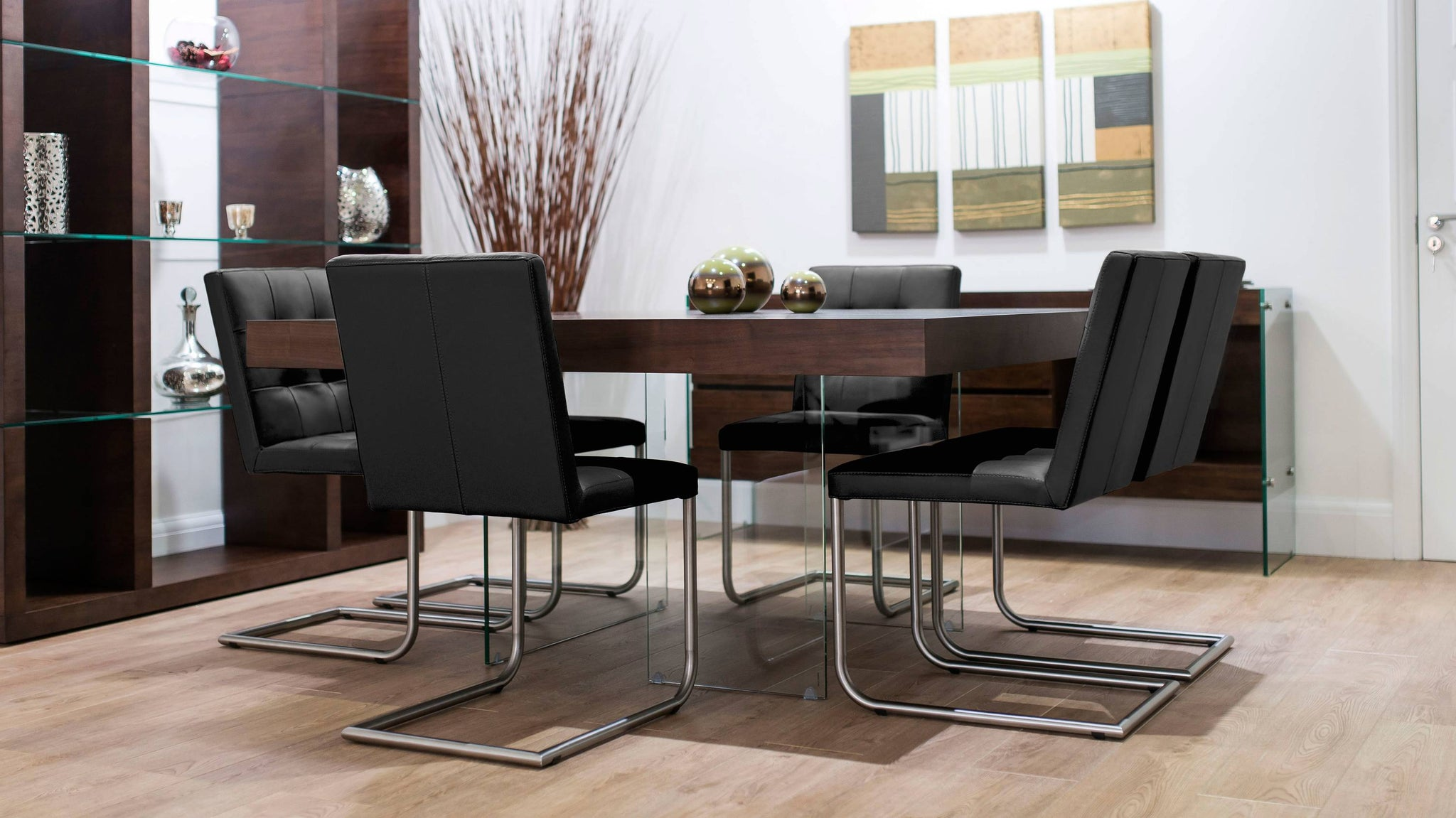 Square Dining Table with Black Real Leather Dining Chairs