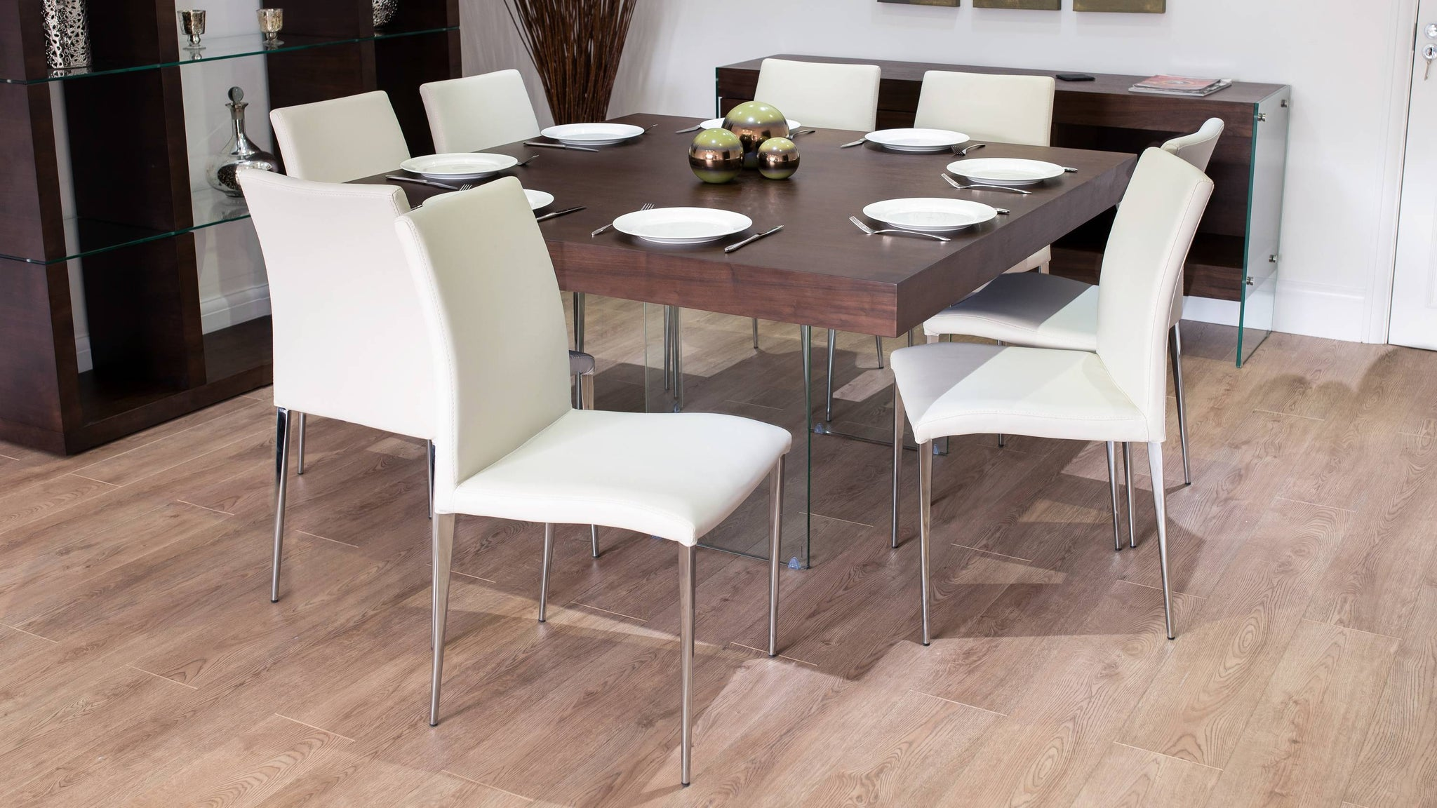 Large Square Dining Table with Modern Chairs