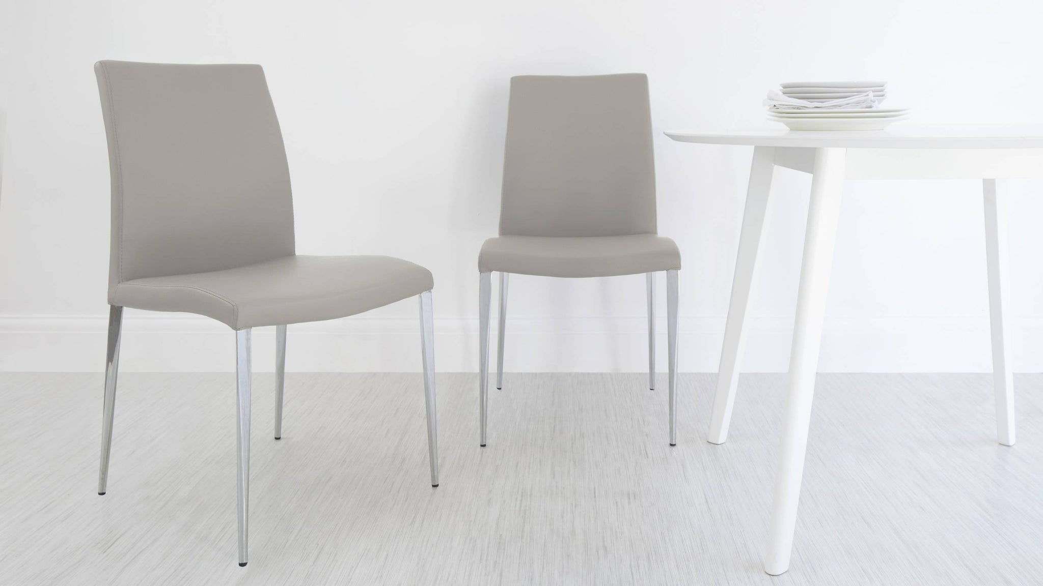 Light Grey Chairs with Chrome Legs