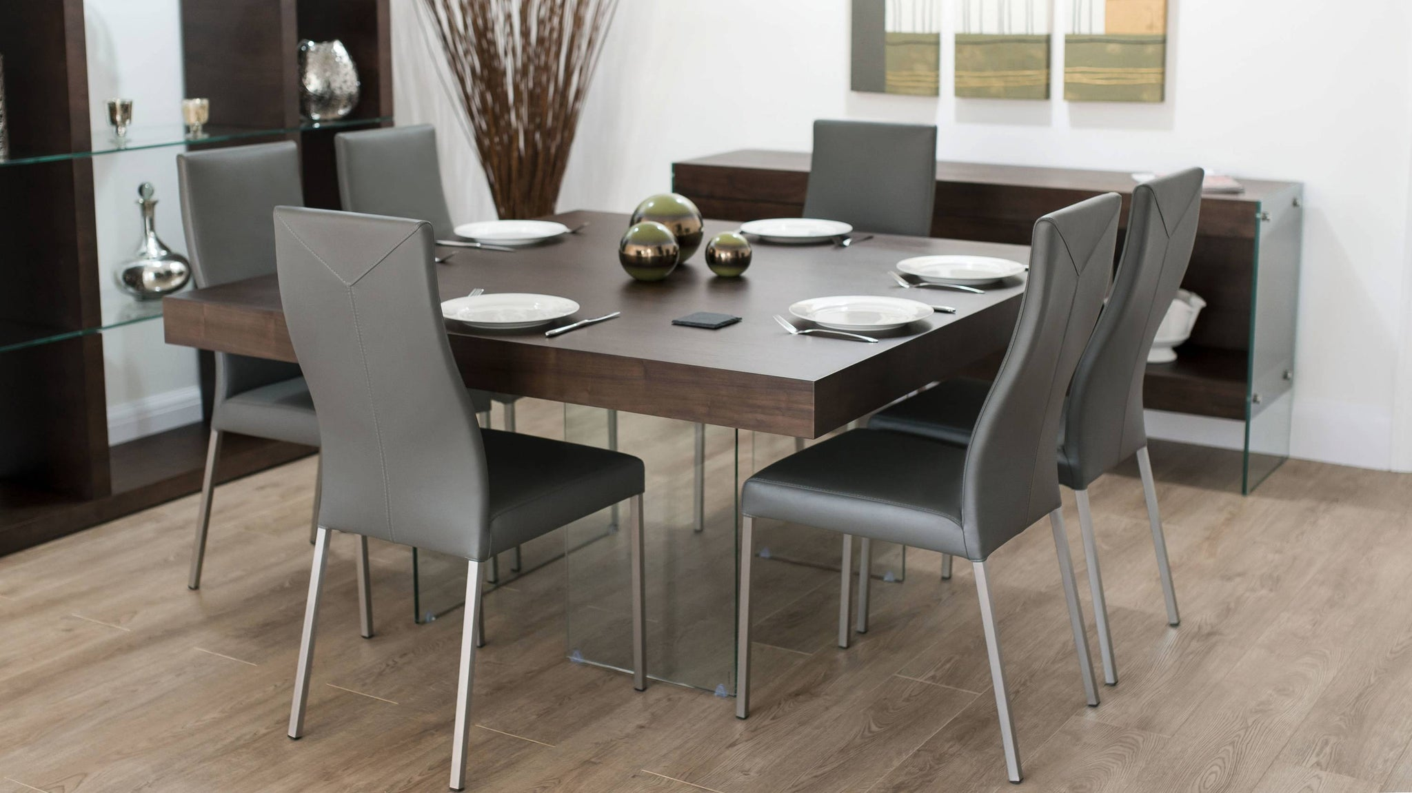Dark Wood and Grey Dining Set