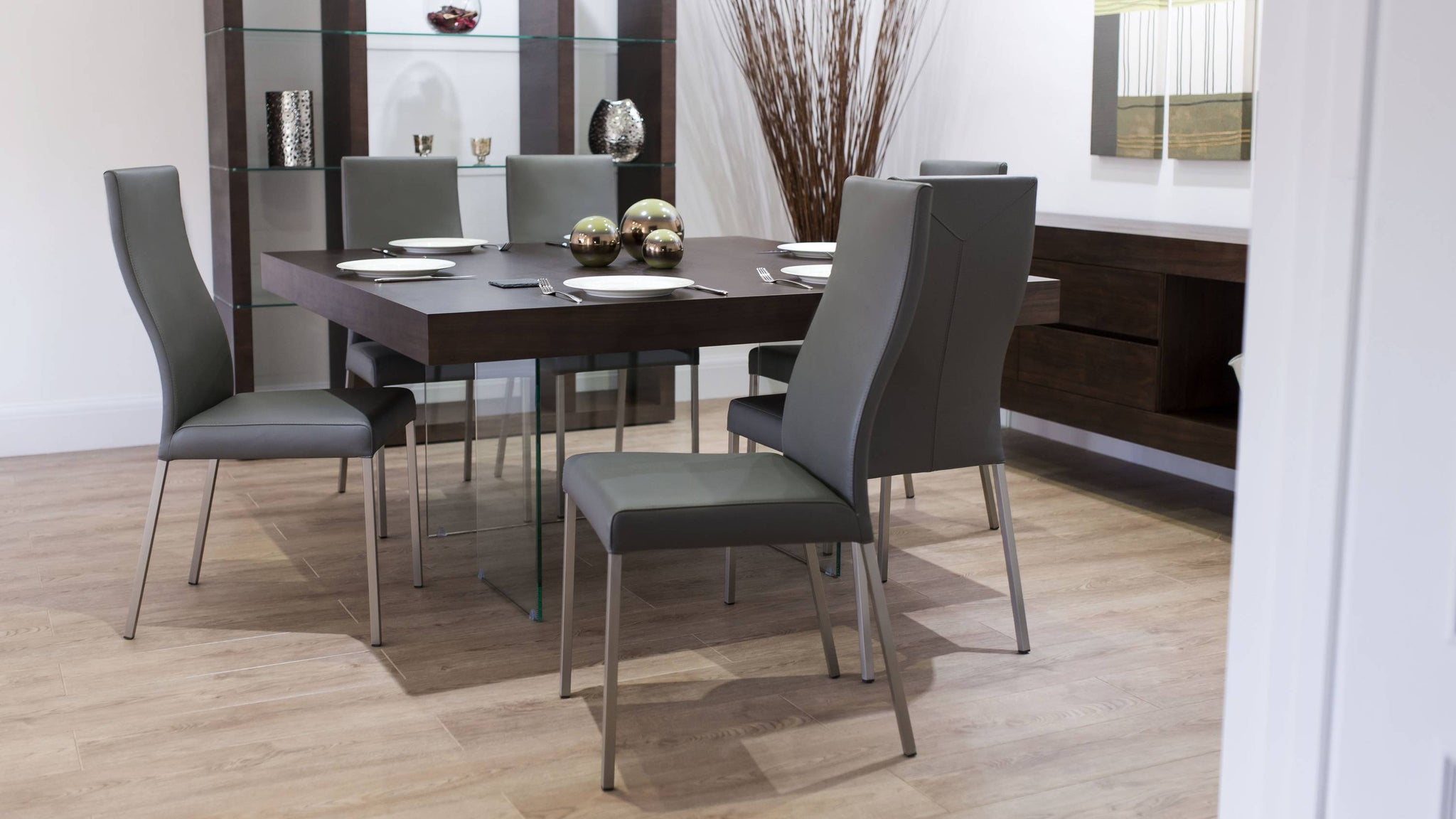 Real Leather Dining Chairs and Dark Wood Dining Table
