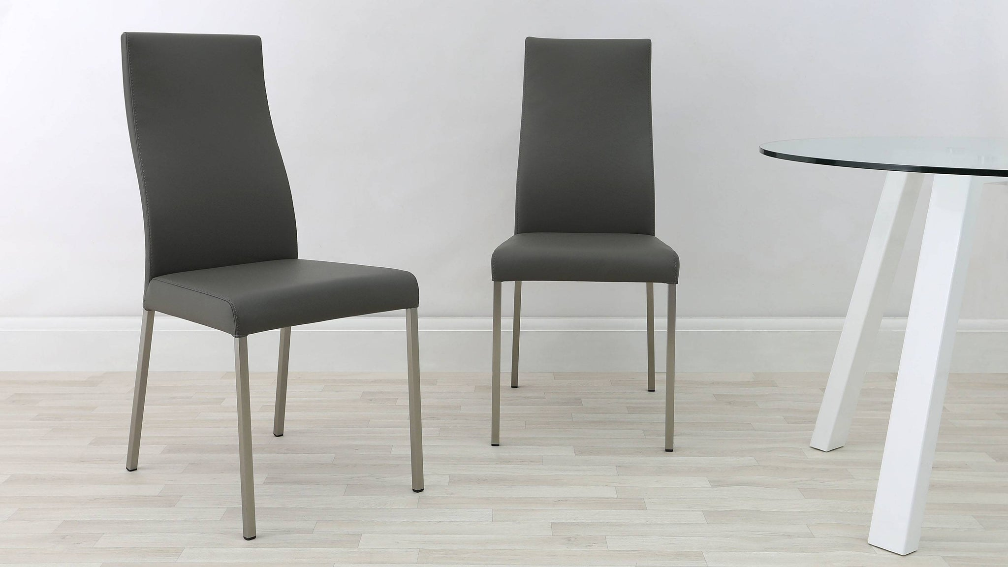 Brushed Metal Legged Grey Dining Chairs