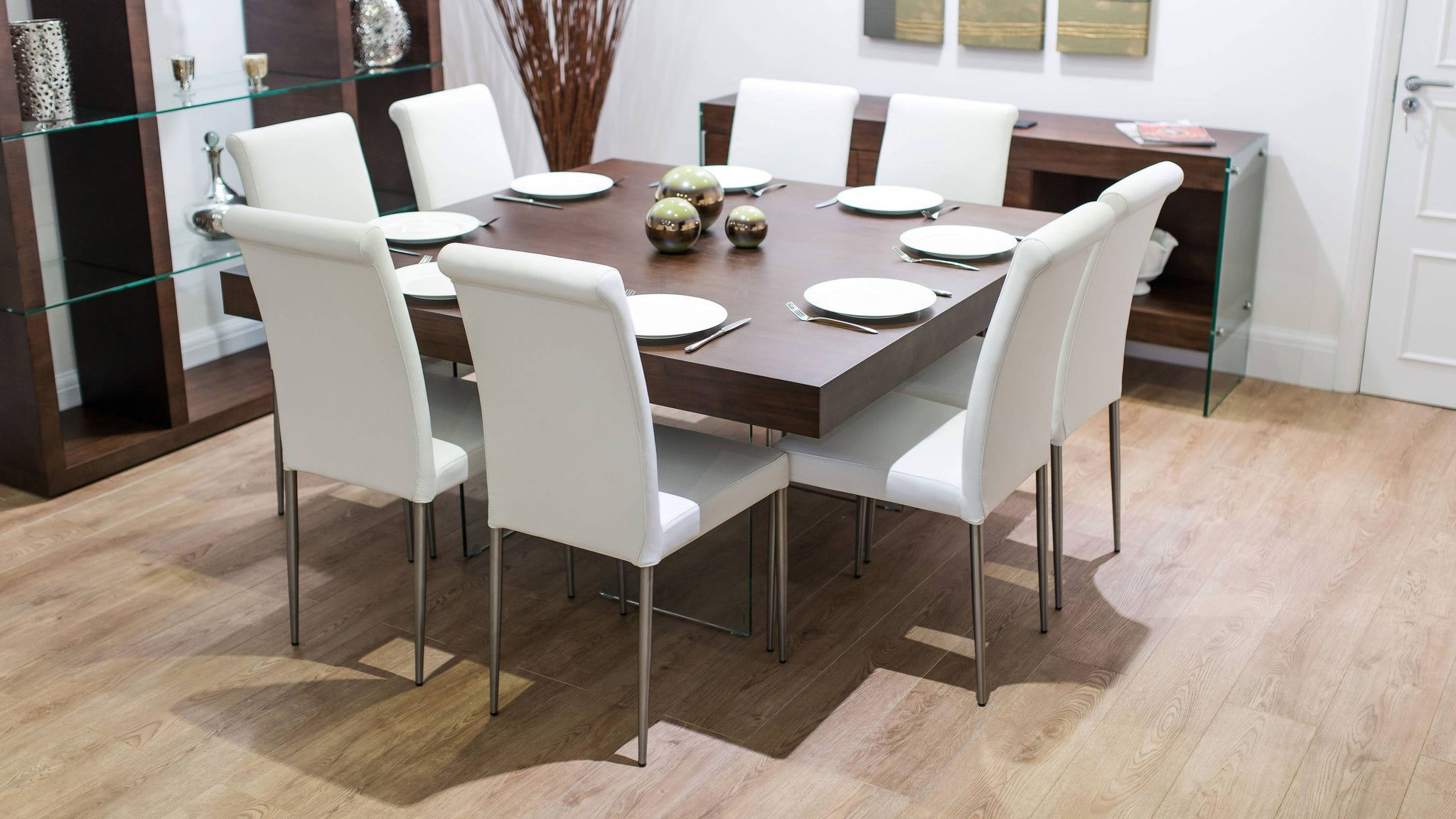 White Real Leather Dining Chairs and Square Dining Table