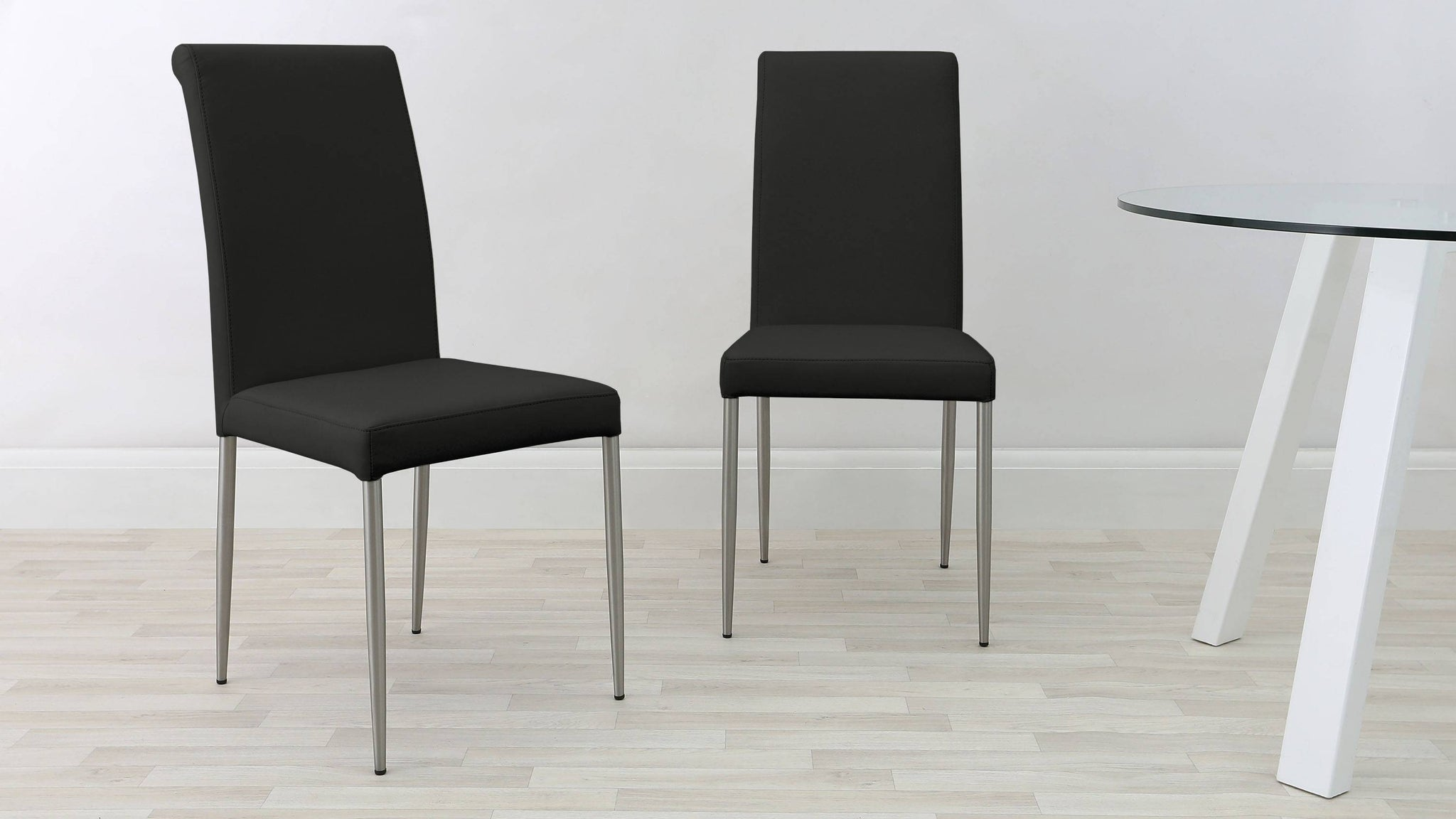 Contemporary Coloured Real Leather Dining Chairs