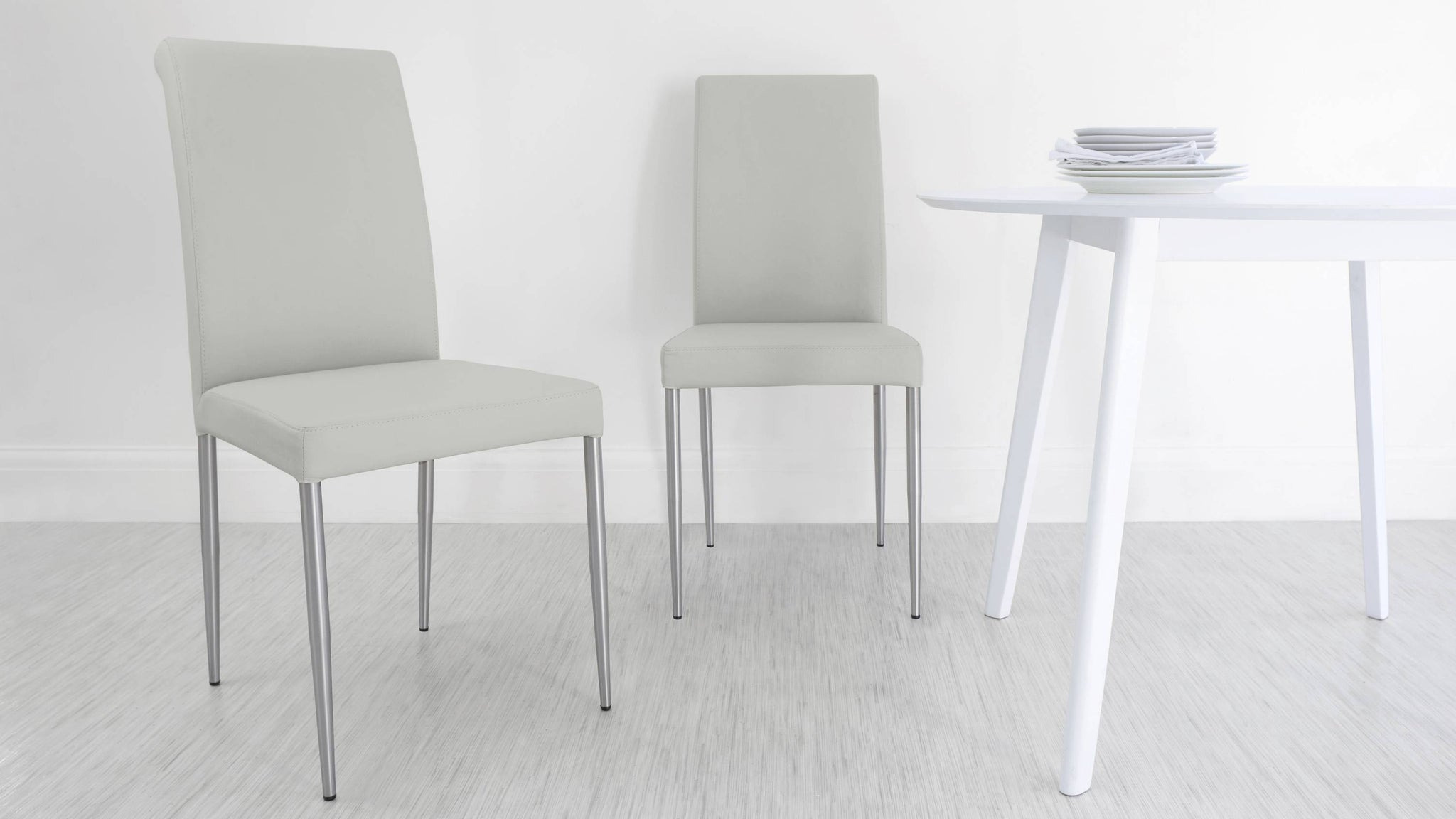 Affordable Grey Real Leather Dining Chairs