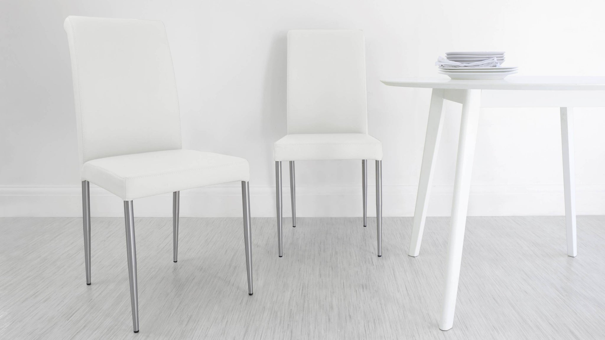 Affordable White Real Leather Dining Chairs