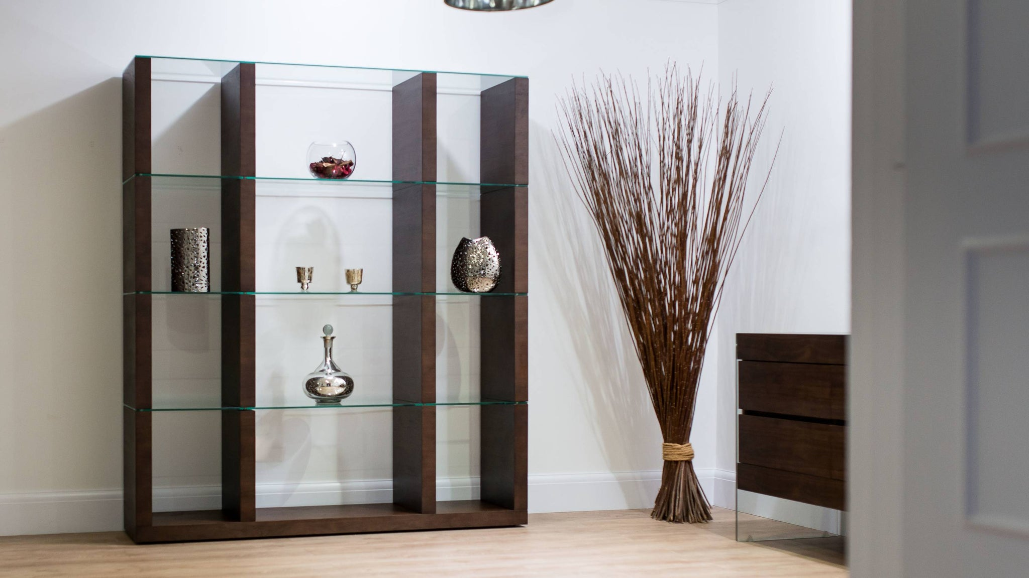 Dark Wood and Glass Shelving Unit