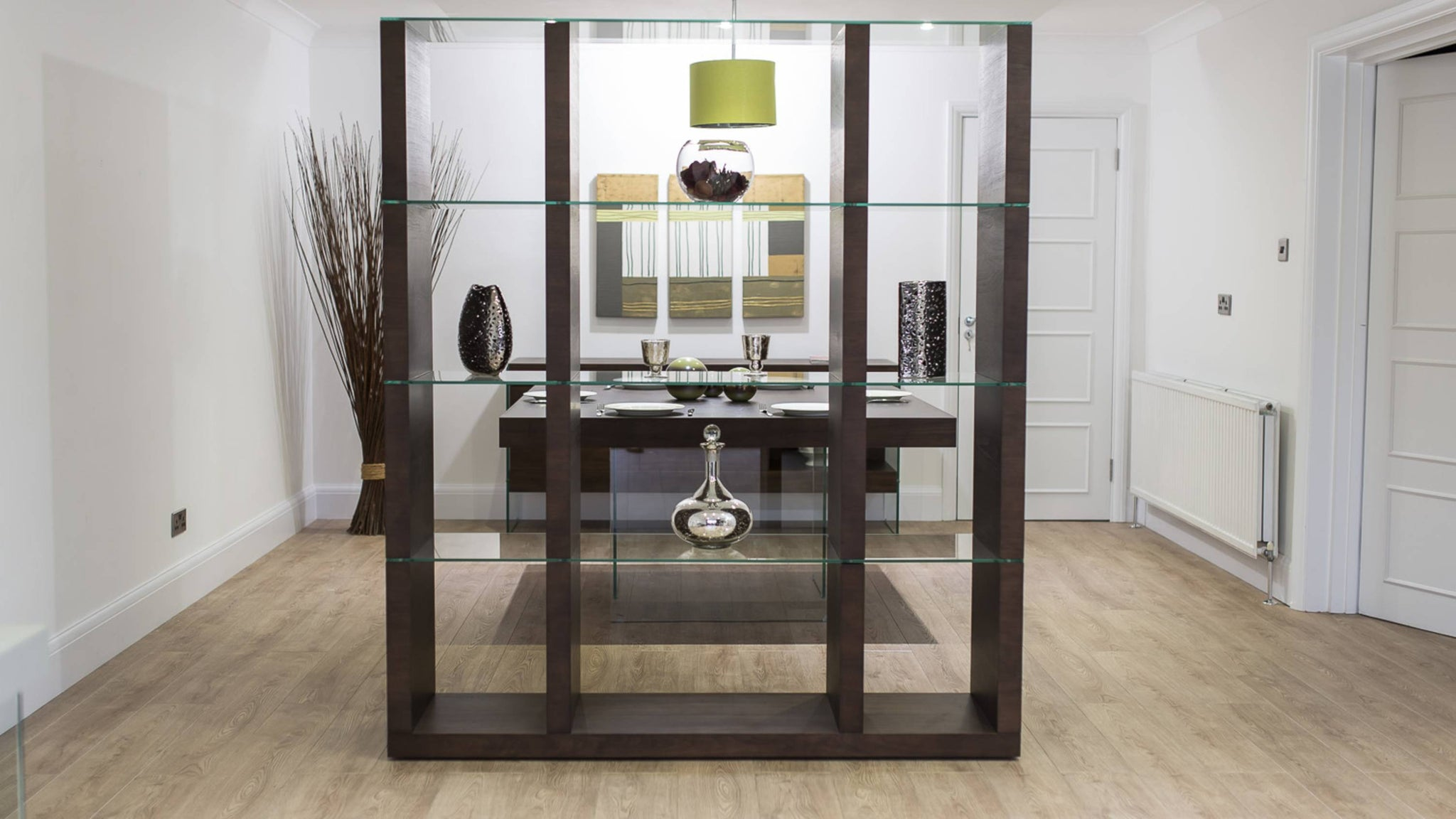 Large Dark Wood and Glass Room Divider