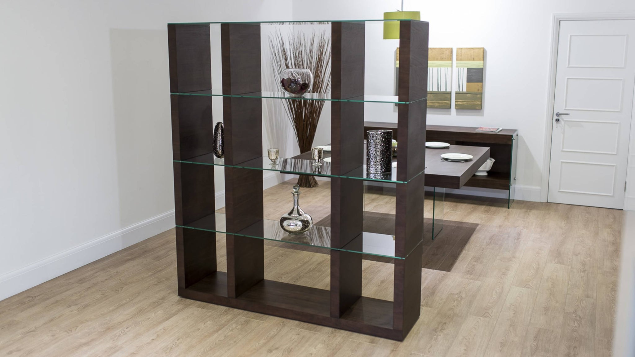 Contemporary Wooden Room Divider with Glass Shelves