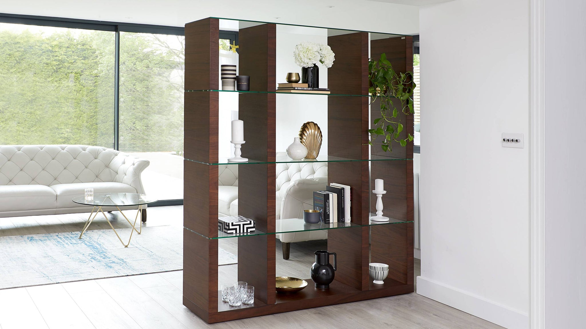 Modern dark wood shelving unit