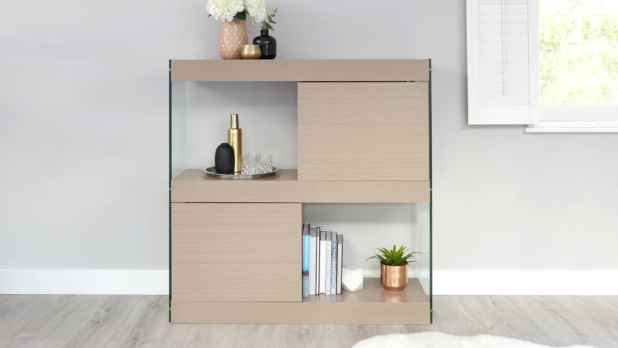 Aria Grey Oak and Glass Compact Sideboard