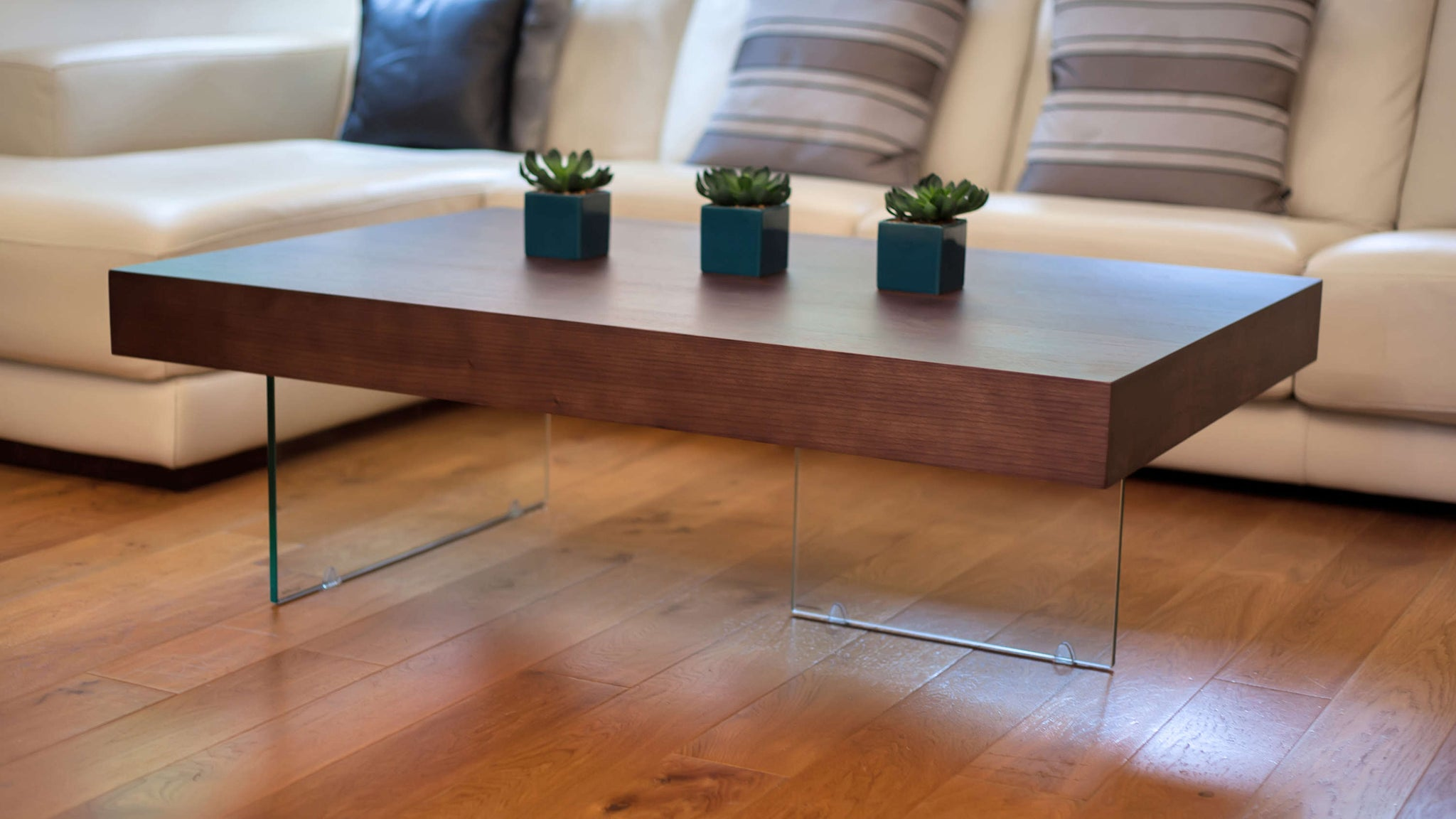 dark wood and glass coffee table