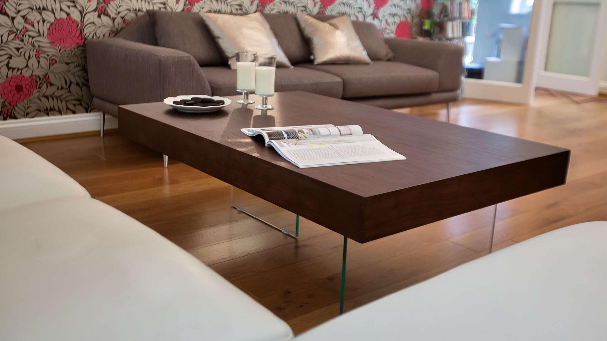 wood and glass modern coffee table
