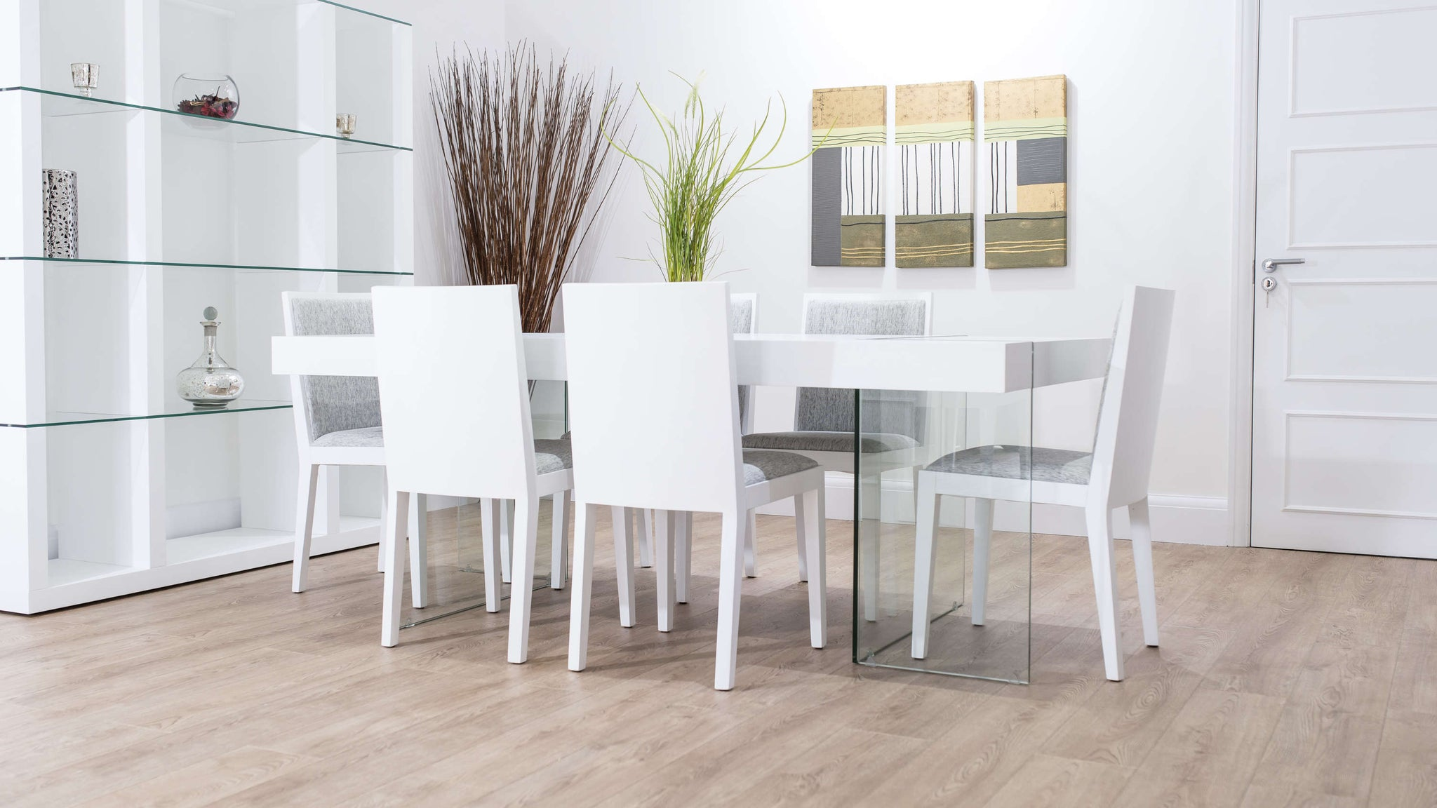 Large White Wooden Dining Set