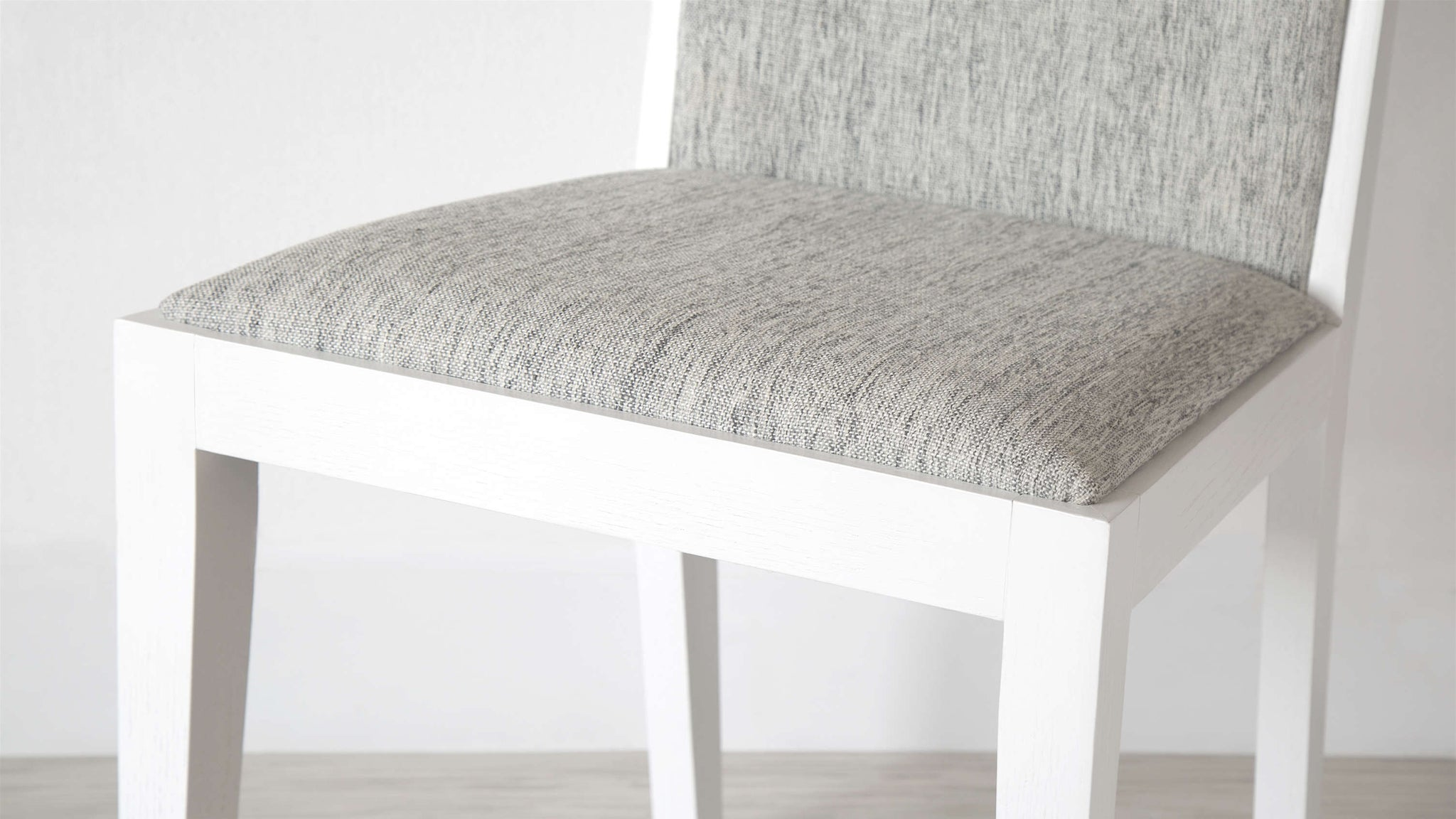 White Wooden Dining Chair with Comfortable Seat