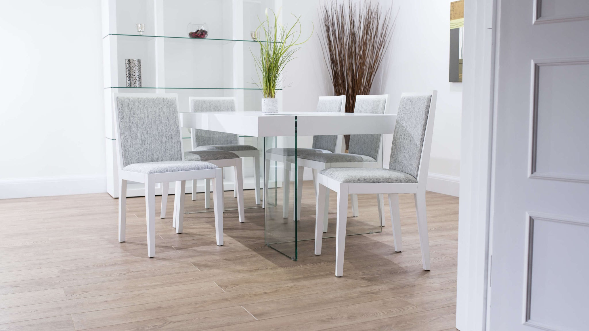 Floating White and Grey Dining Set
