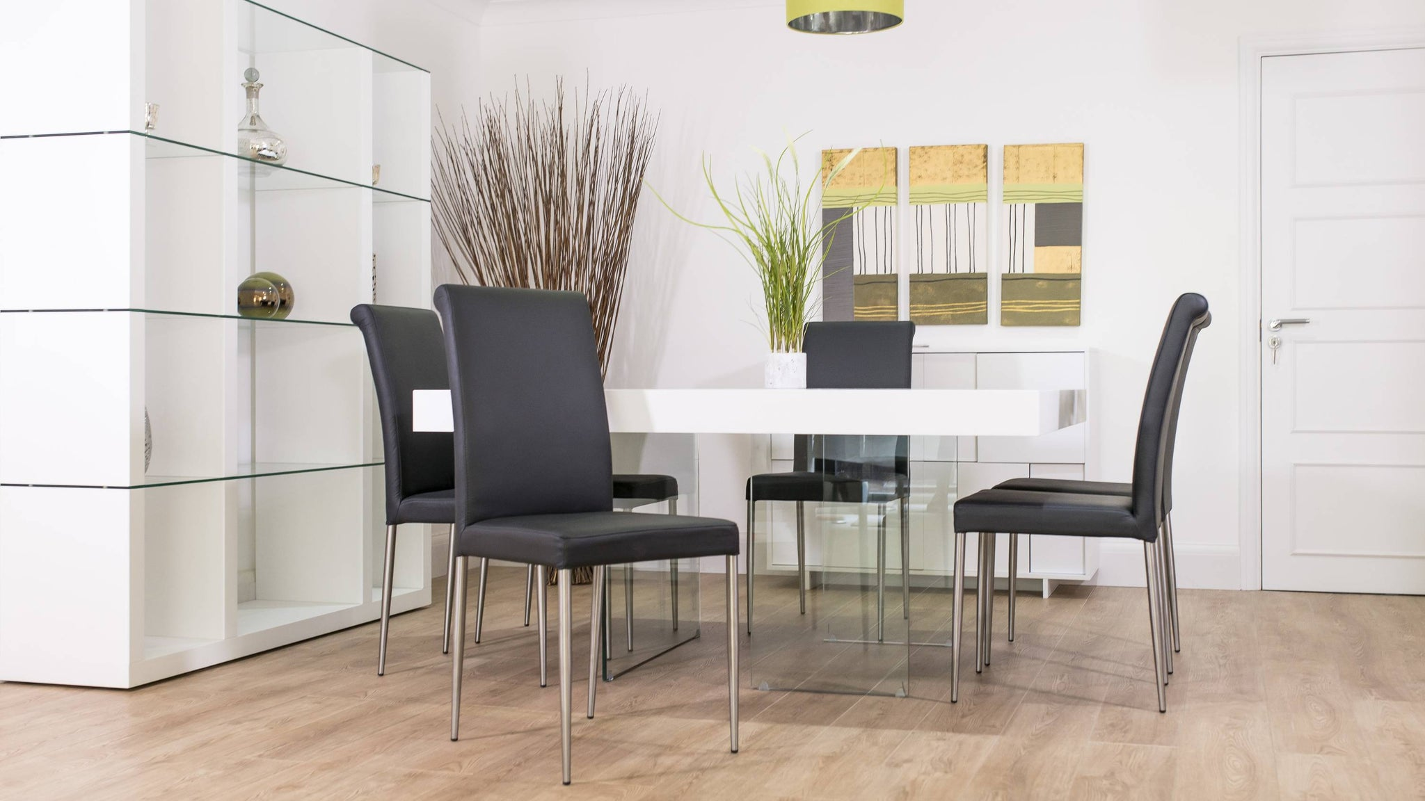 Glass Based Dining Table with Modern Dining Chairs