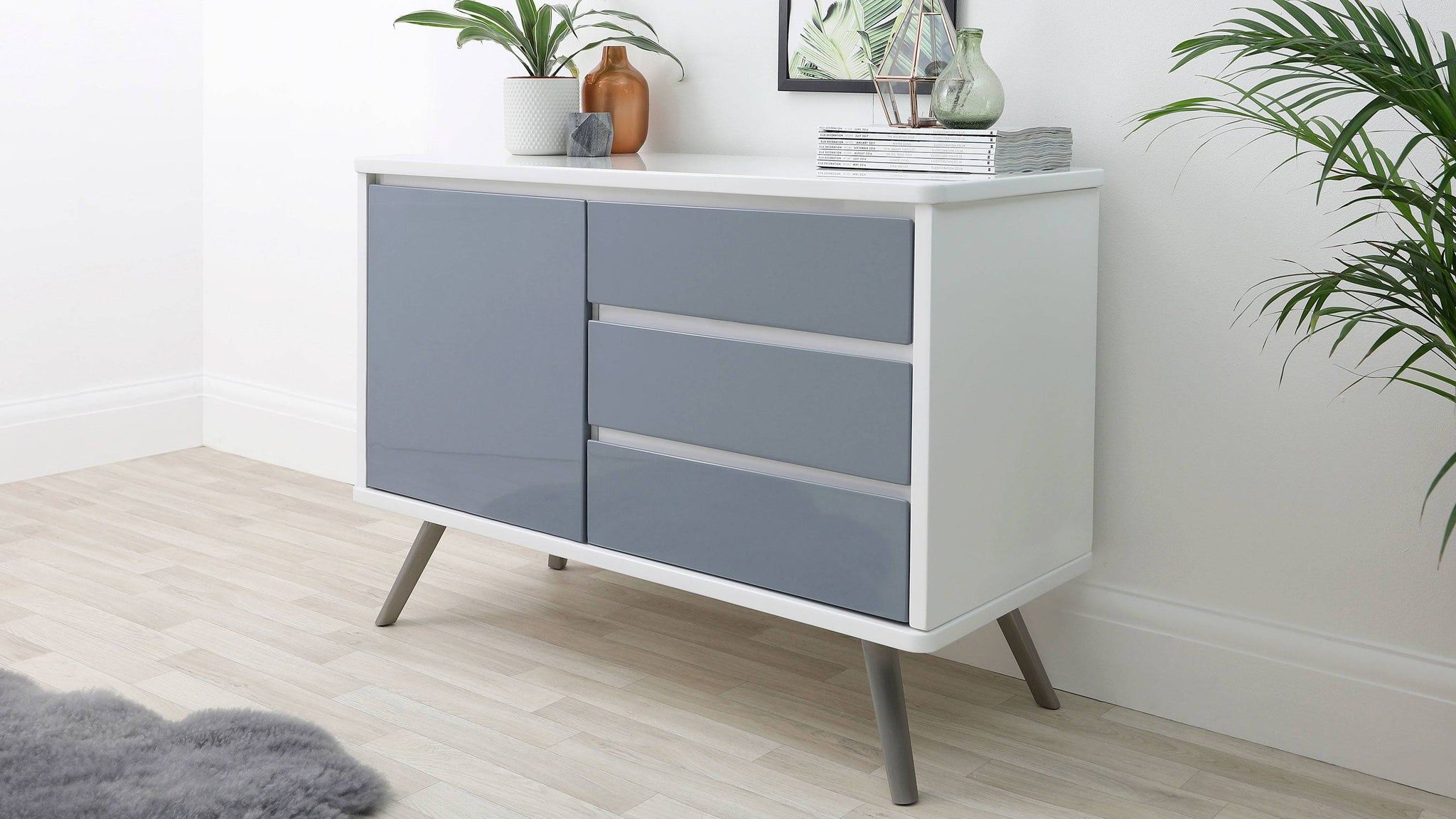 buy white and grey gloss sideboard