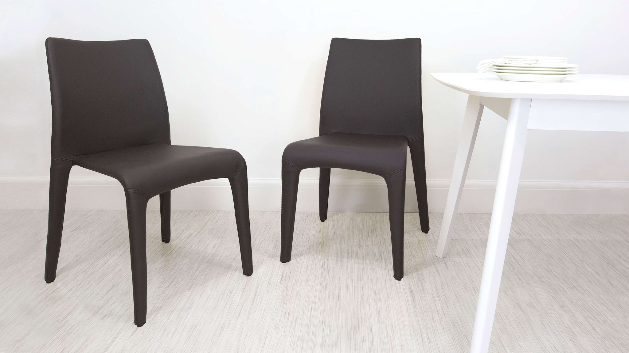 Brown Faux Leather Dining Chairs