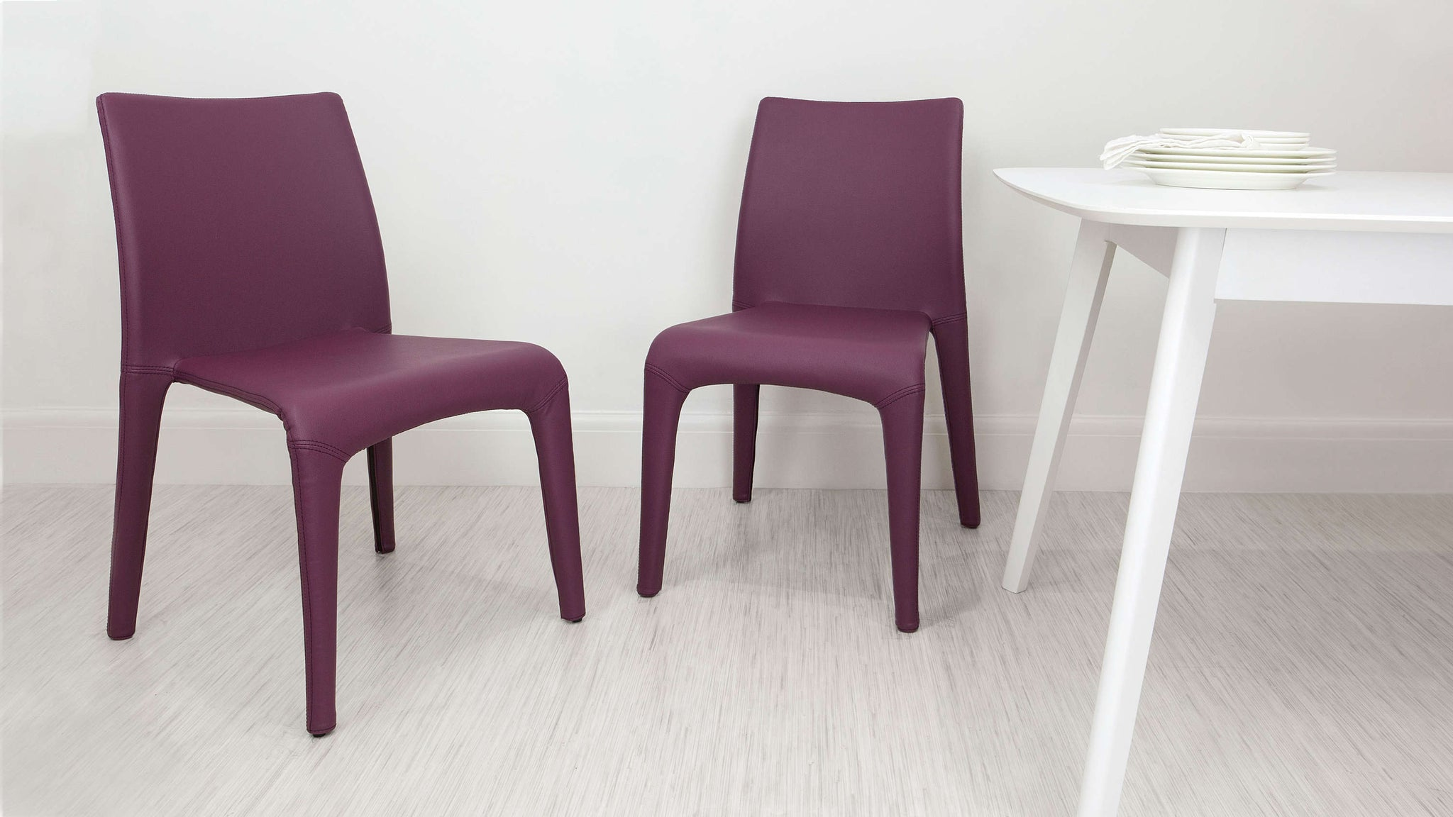 Purple Faux Leather Dining Chairs