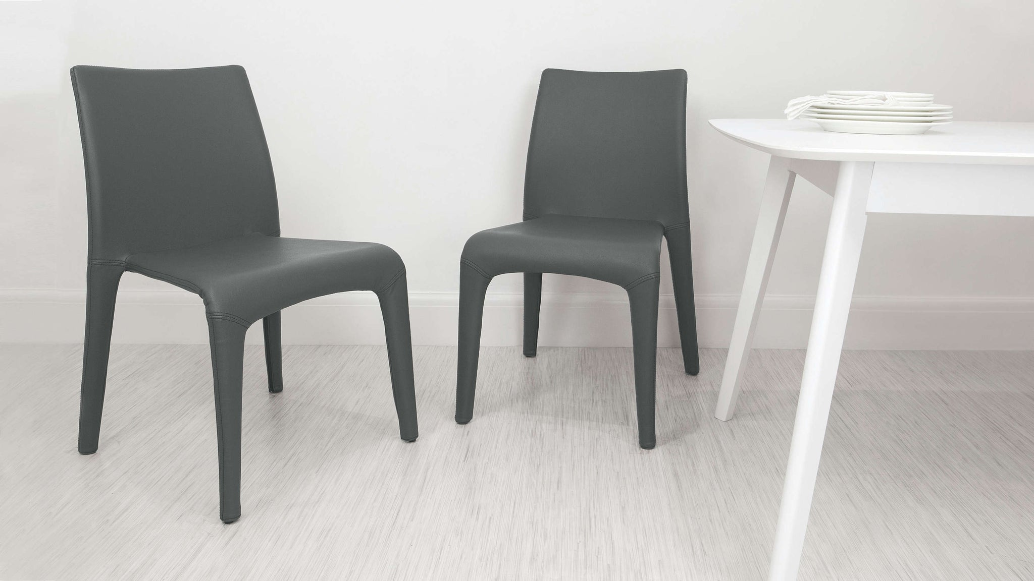 Grey Faux Leather Dining Chairs