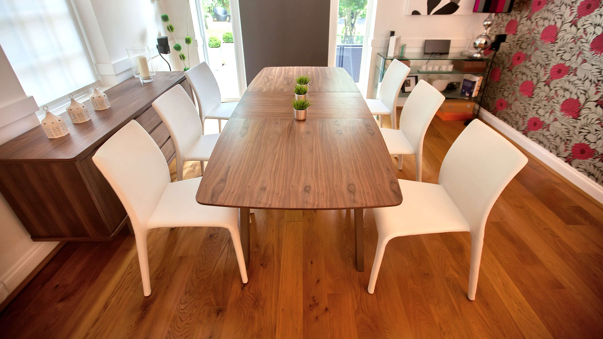 Large Extending Dining Table and White Dining Chairs