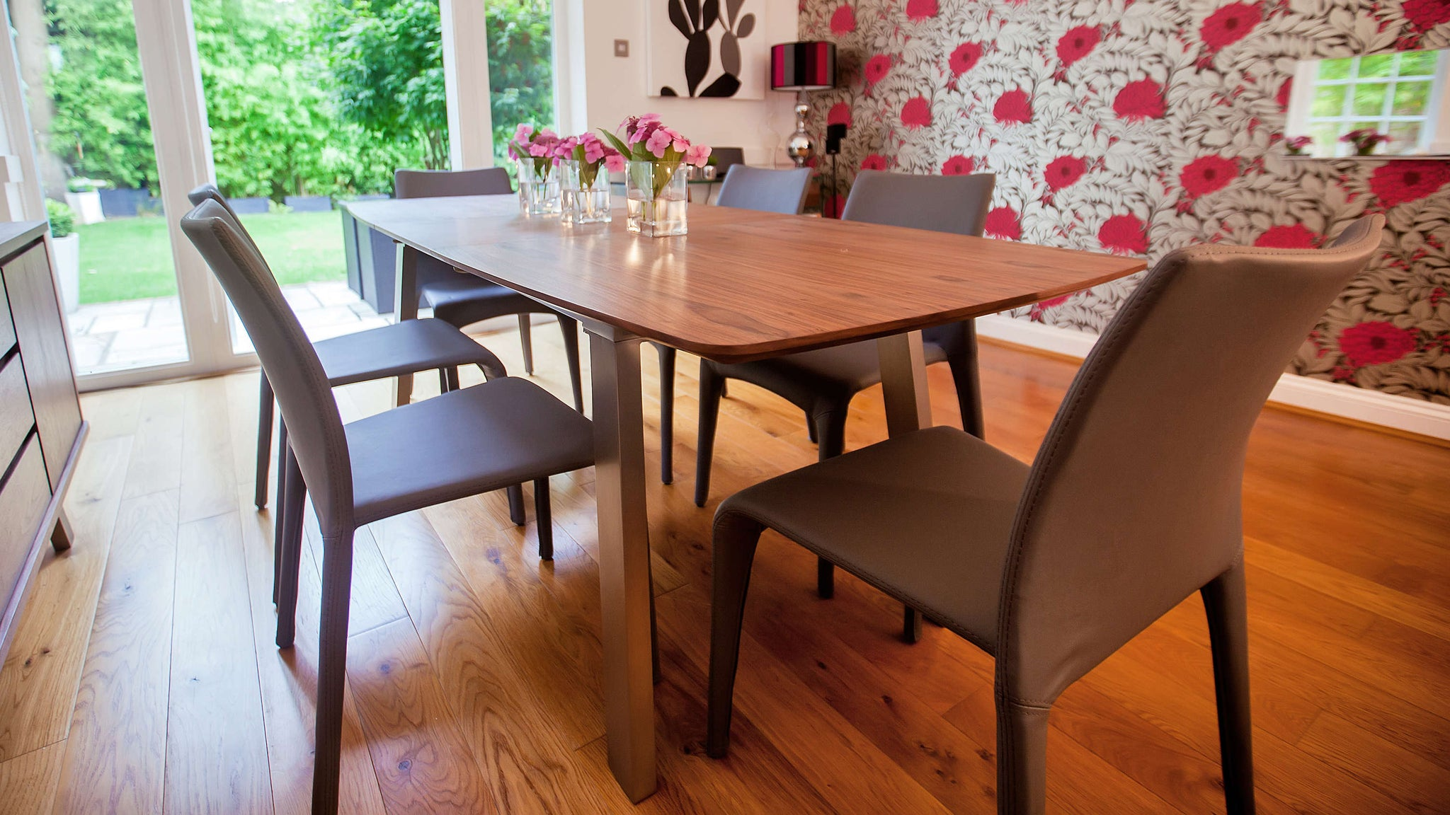 Stylish Stackable Dining Chairs and Extending Dining Table