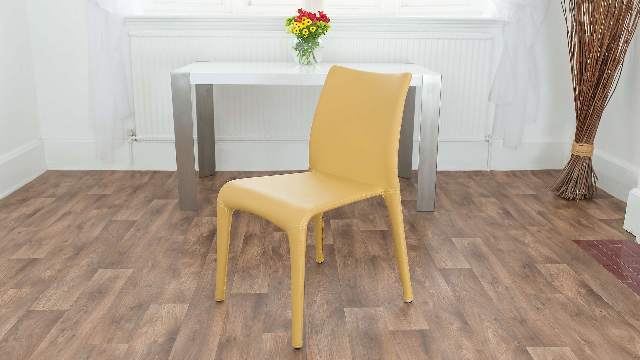 Yellow Stackable Faux Leather Dining Chair