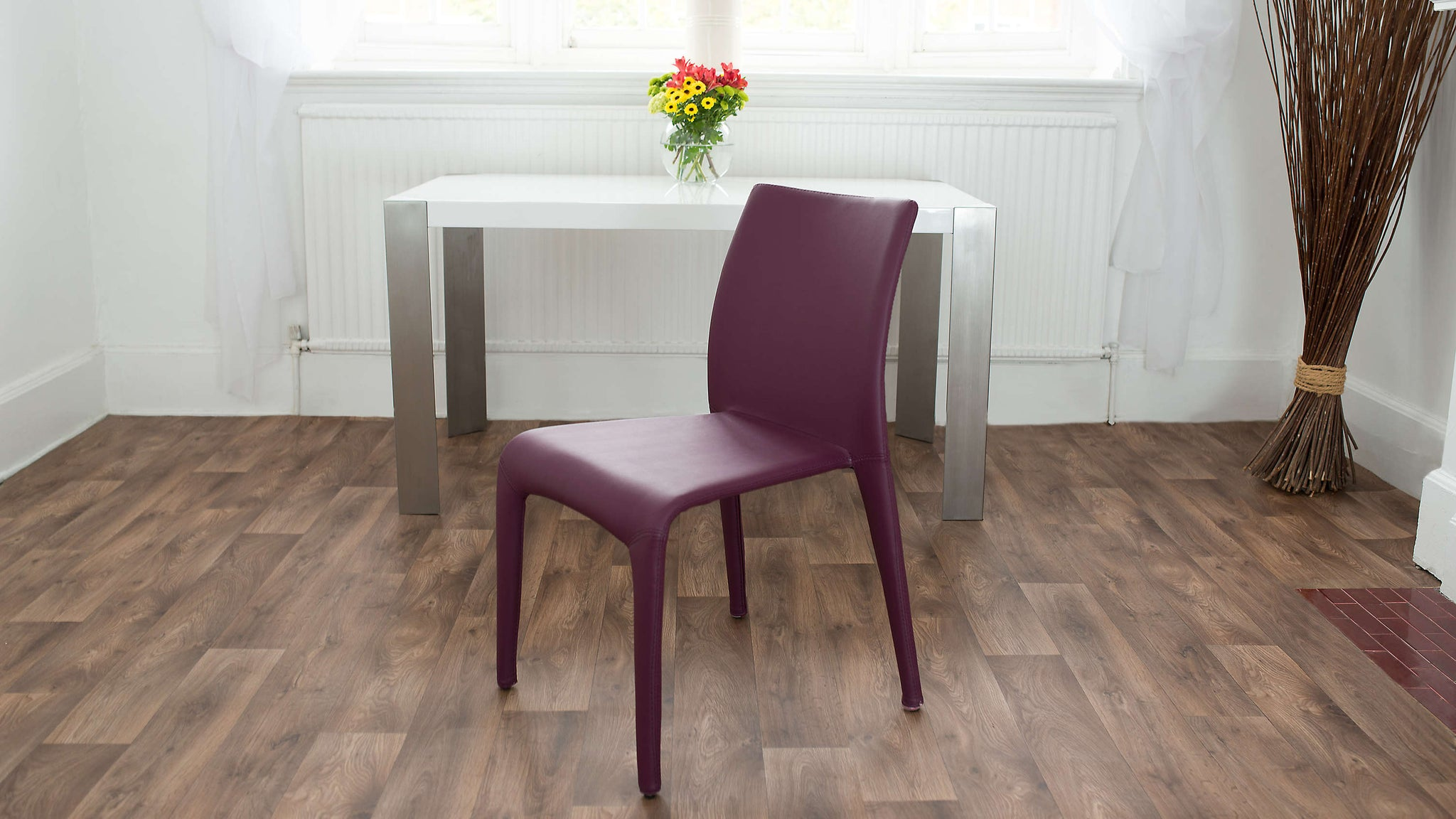Purple Stackable Faux Leather Dining Chair