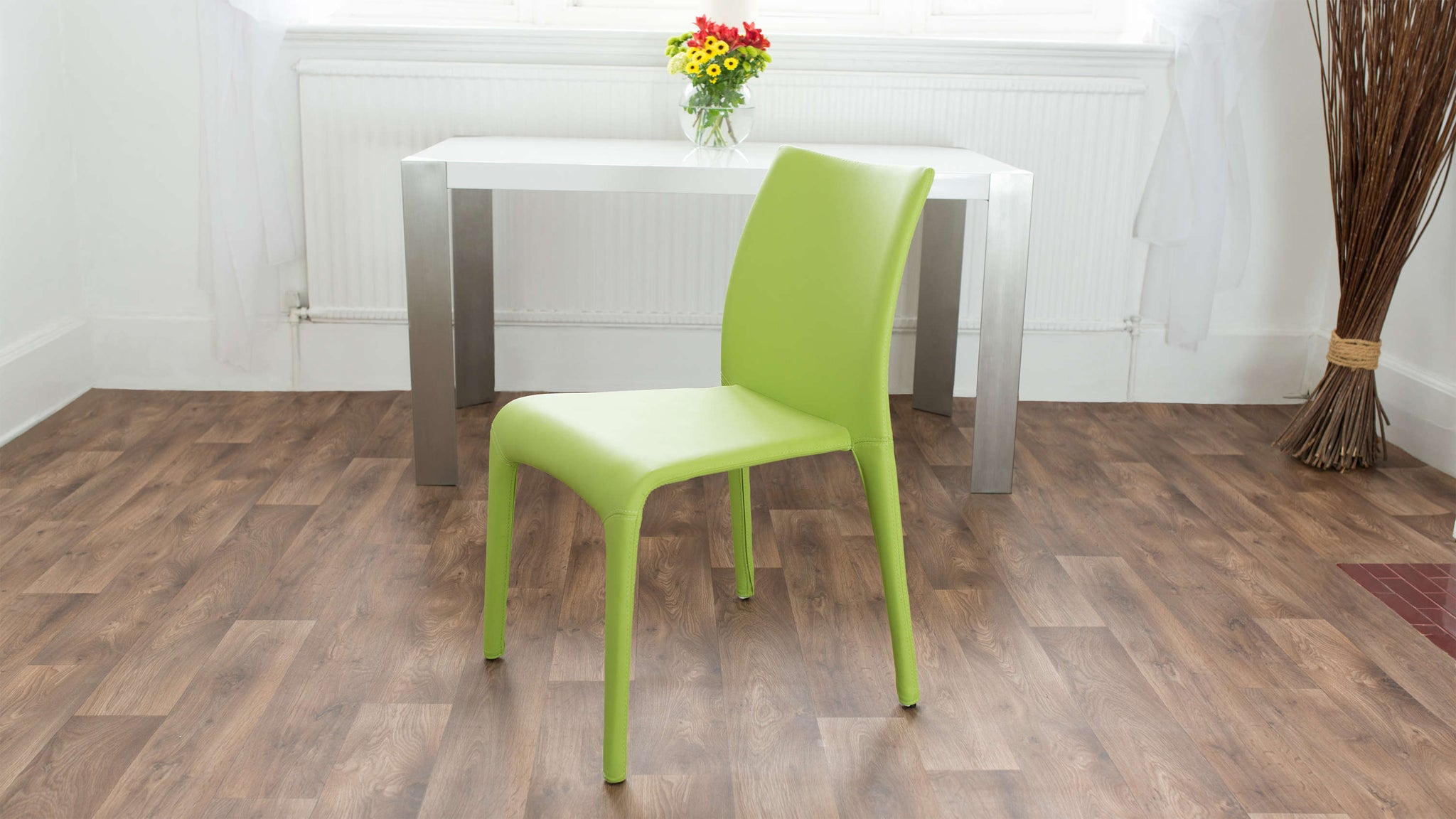 Green Stackable Faux Leather Dining Chair